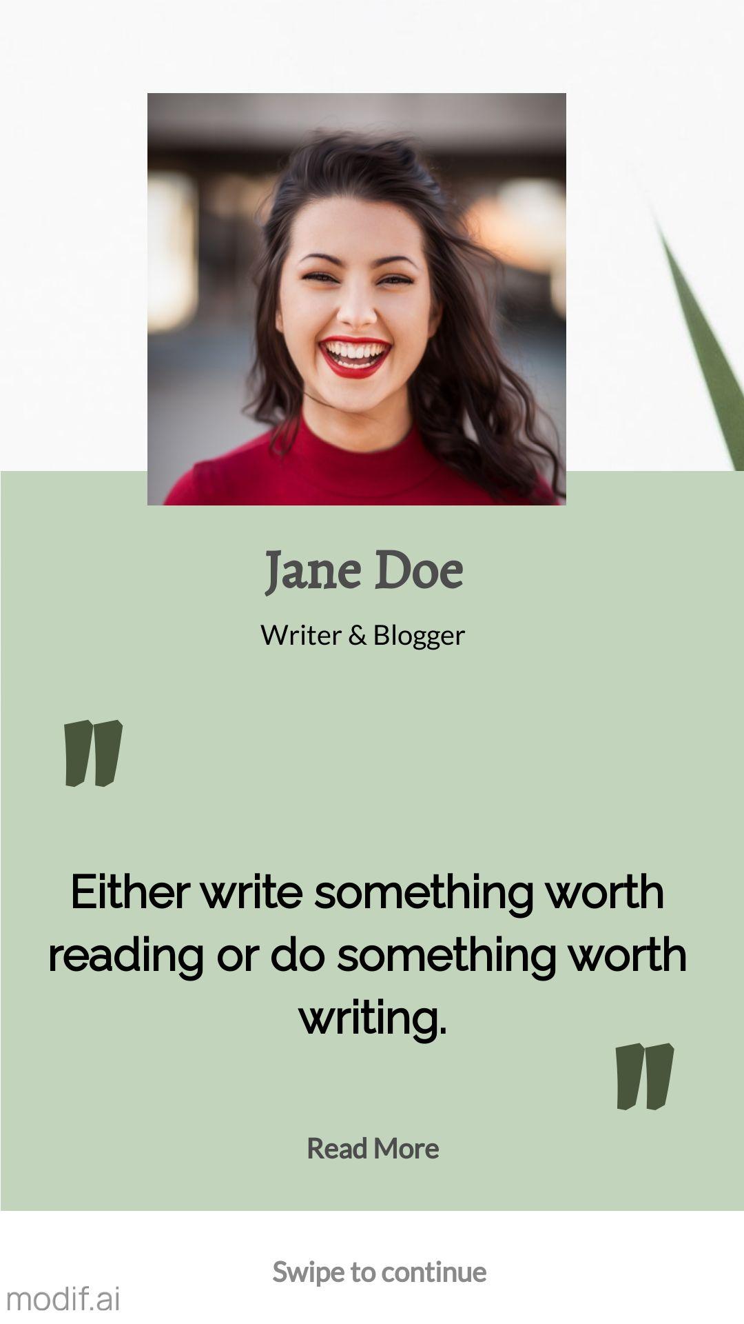 Writer and Blogger Profile Instagram Story Maker