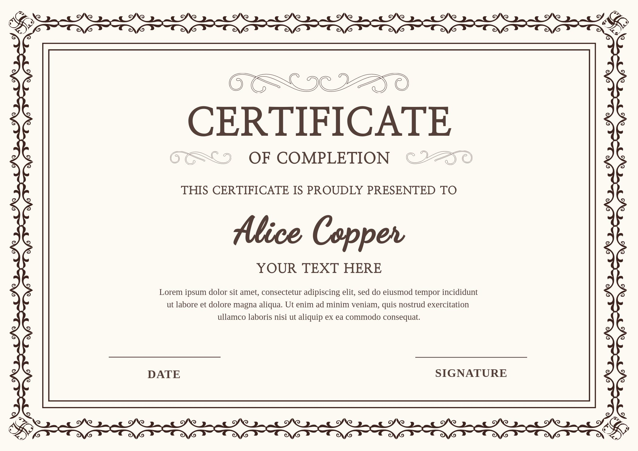 School Certificate Online Design Template