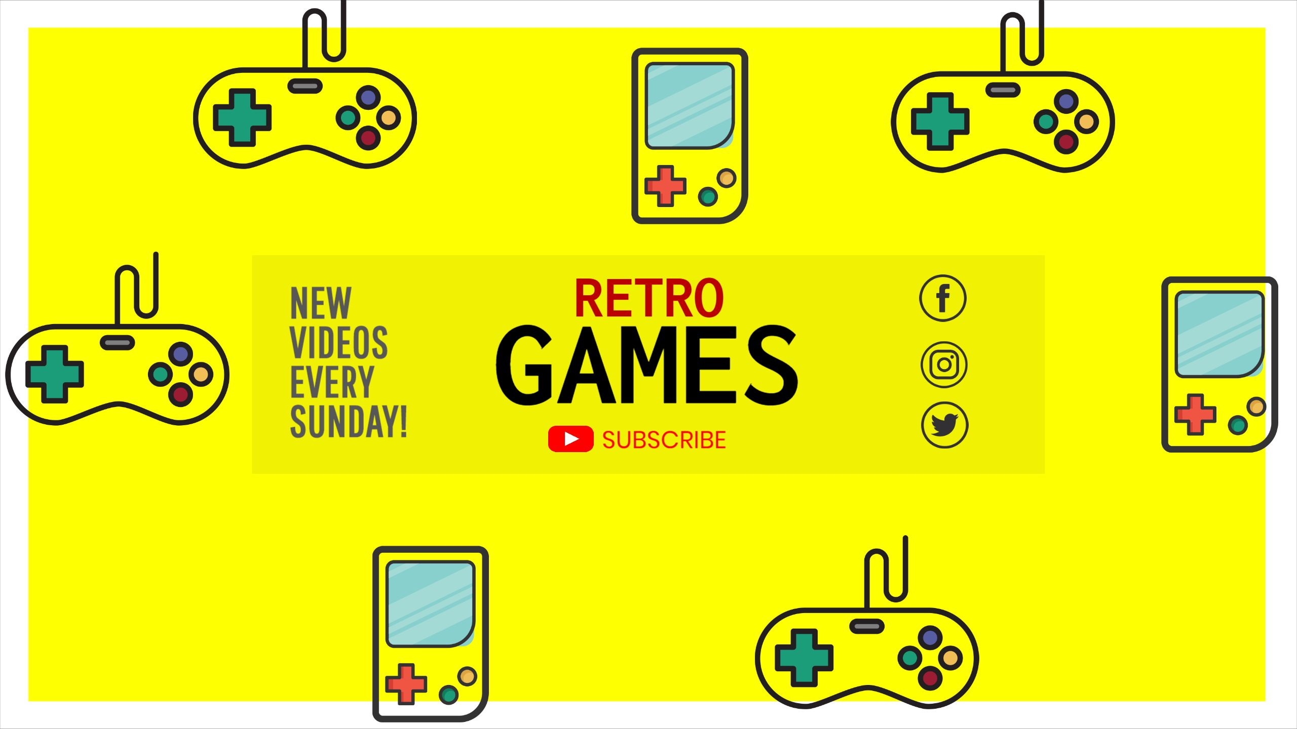Retro Gaming Youtube Cover Template