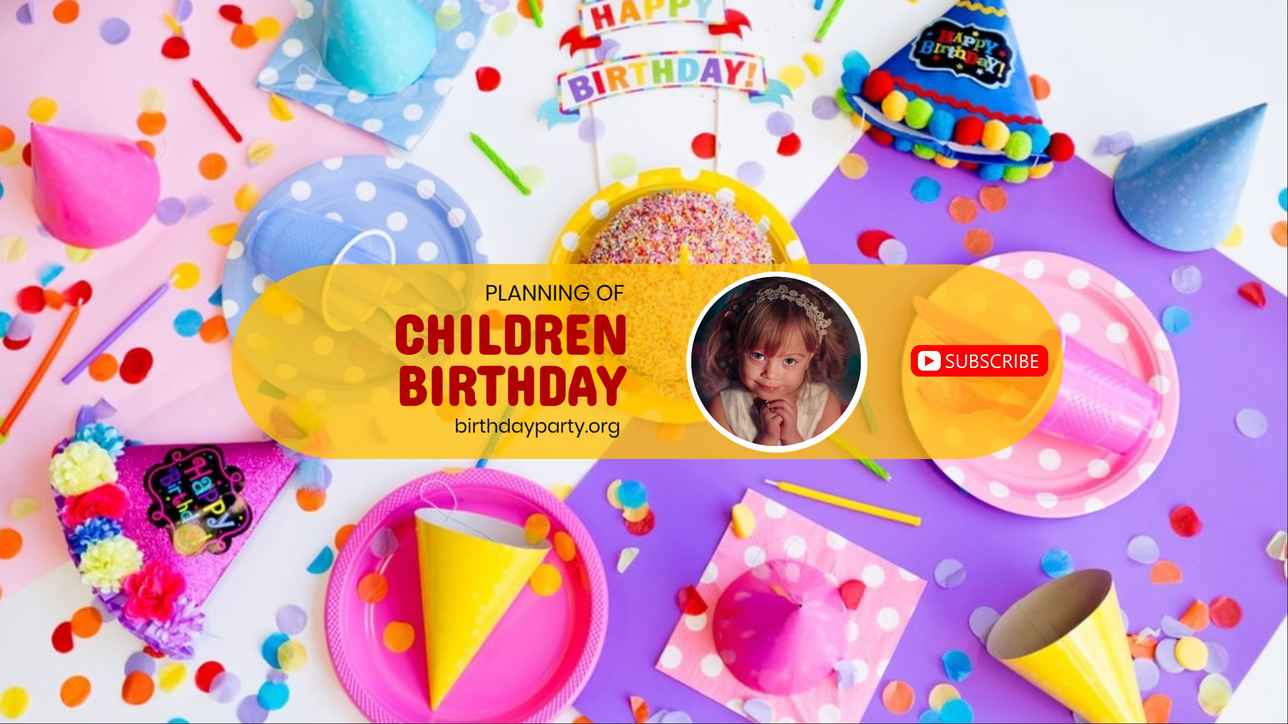 Birthday Party Planning Youtube Channel Art
