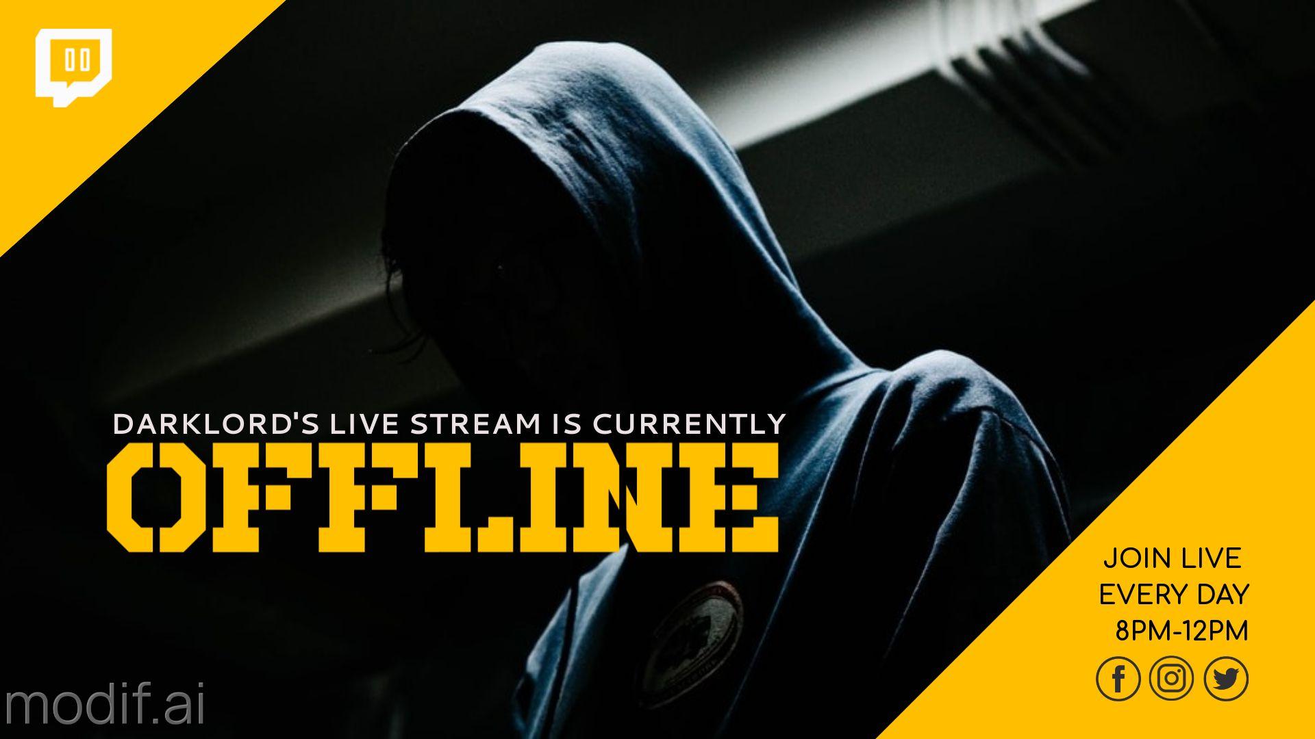 Dark Themed Twitch Offline Banner