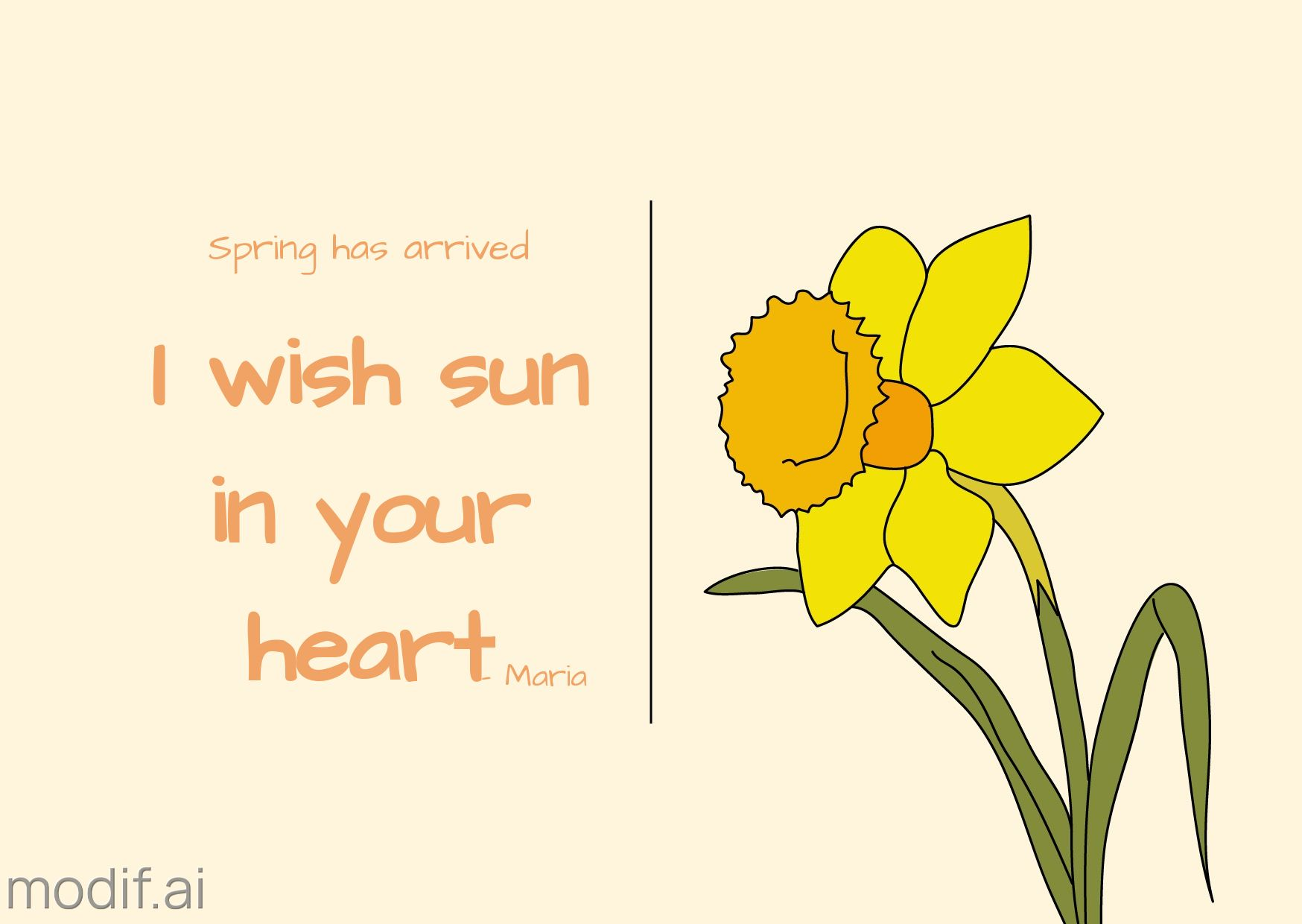 Daffodil and Spring Greeting Card Template