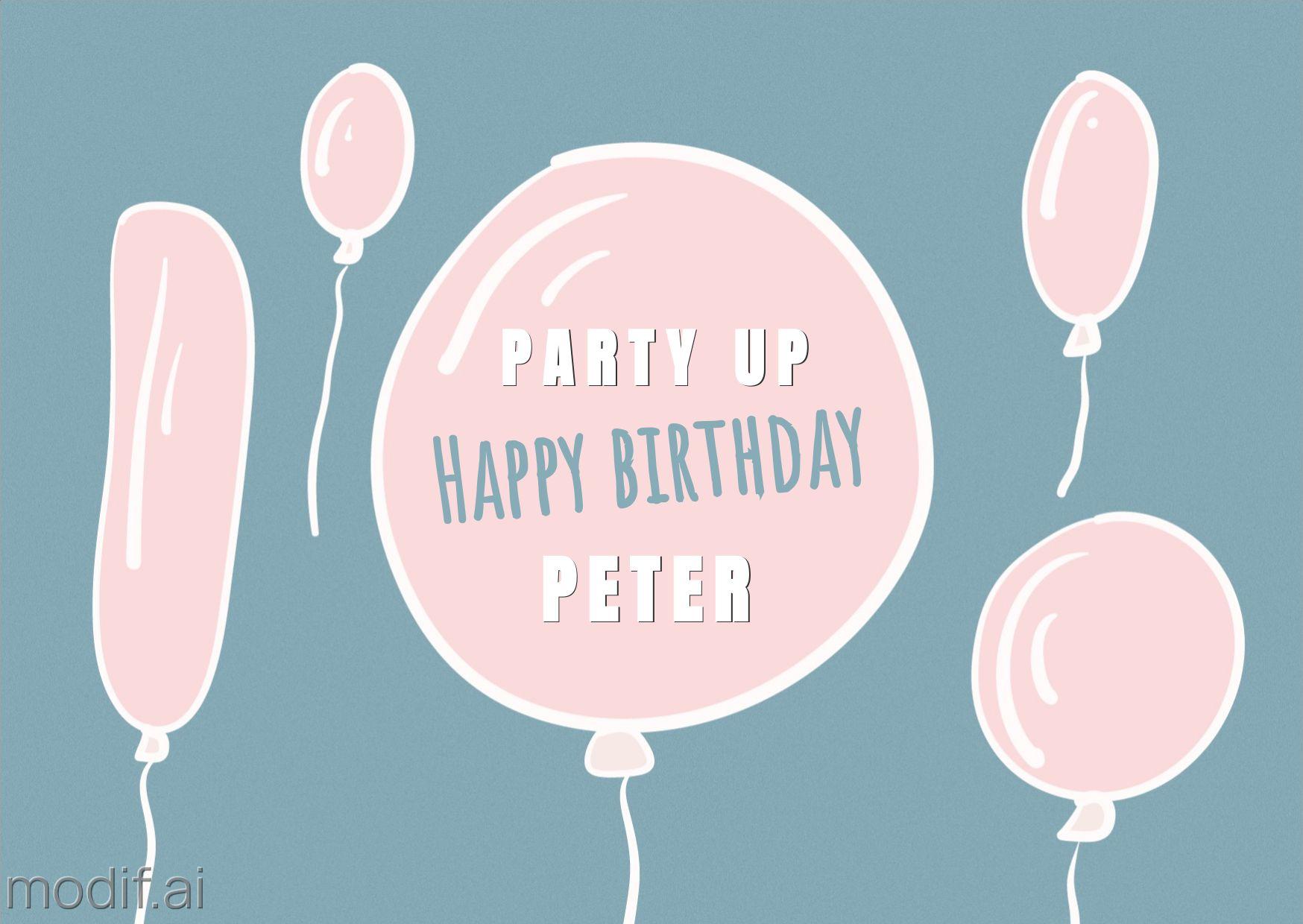 Birthday Balloons Greeting Card Template