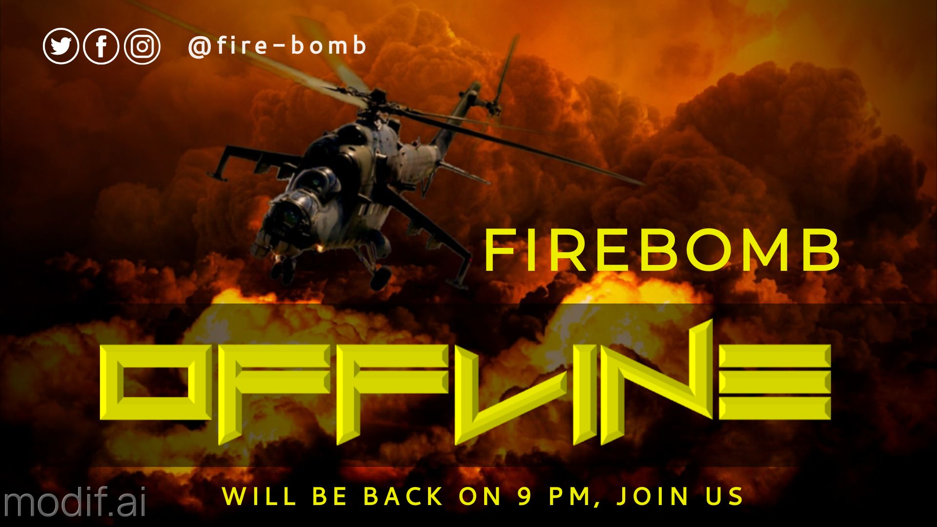 Explosion themed Twitch Offline Banner