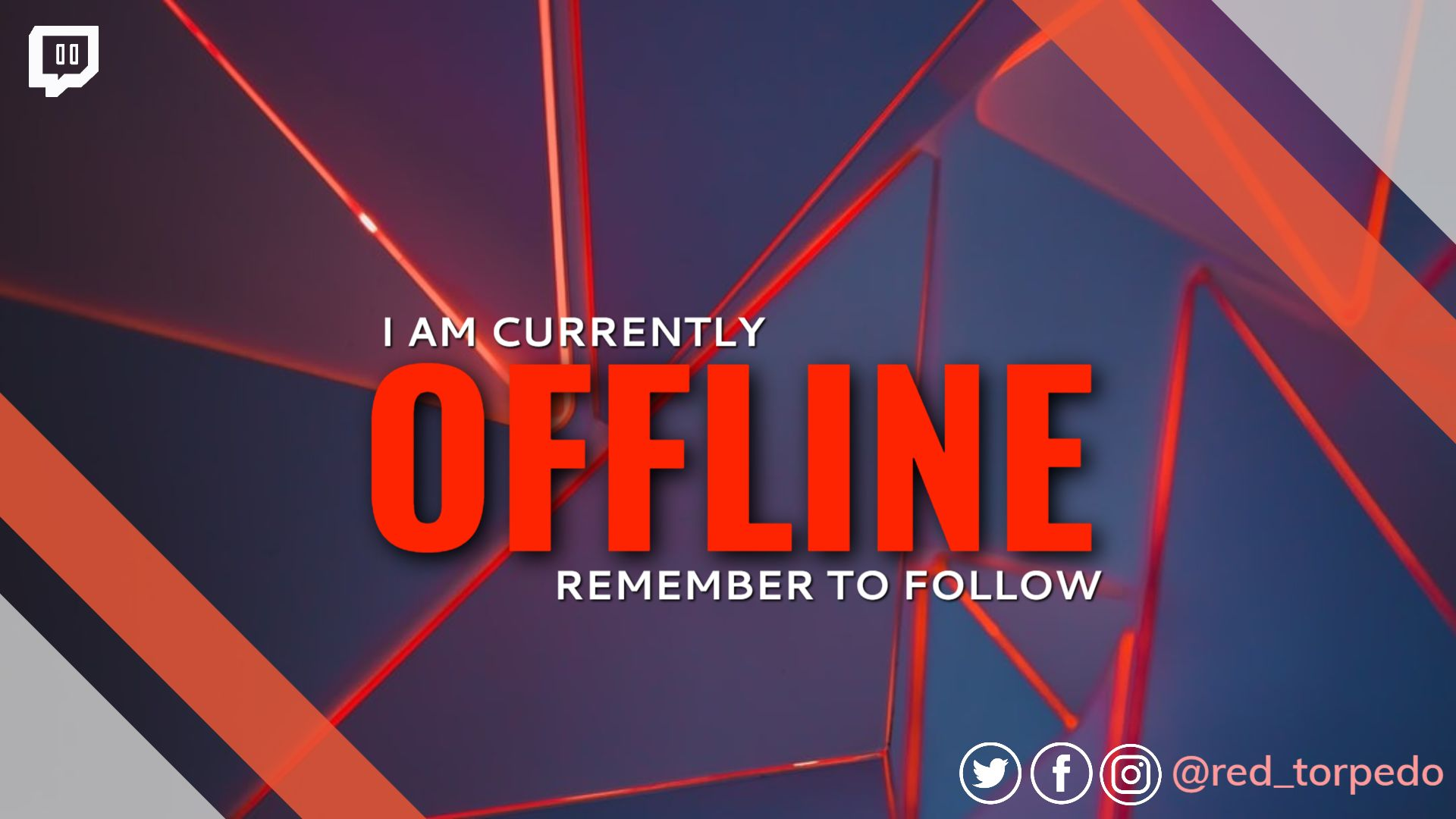 Red Geometrical Twitch Offline Banner