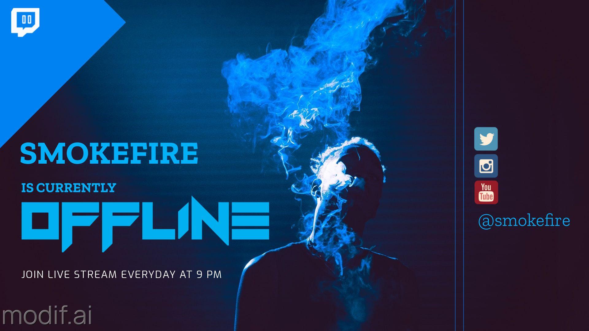 Blue Smoke Twitch Offline Banner