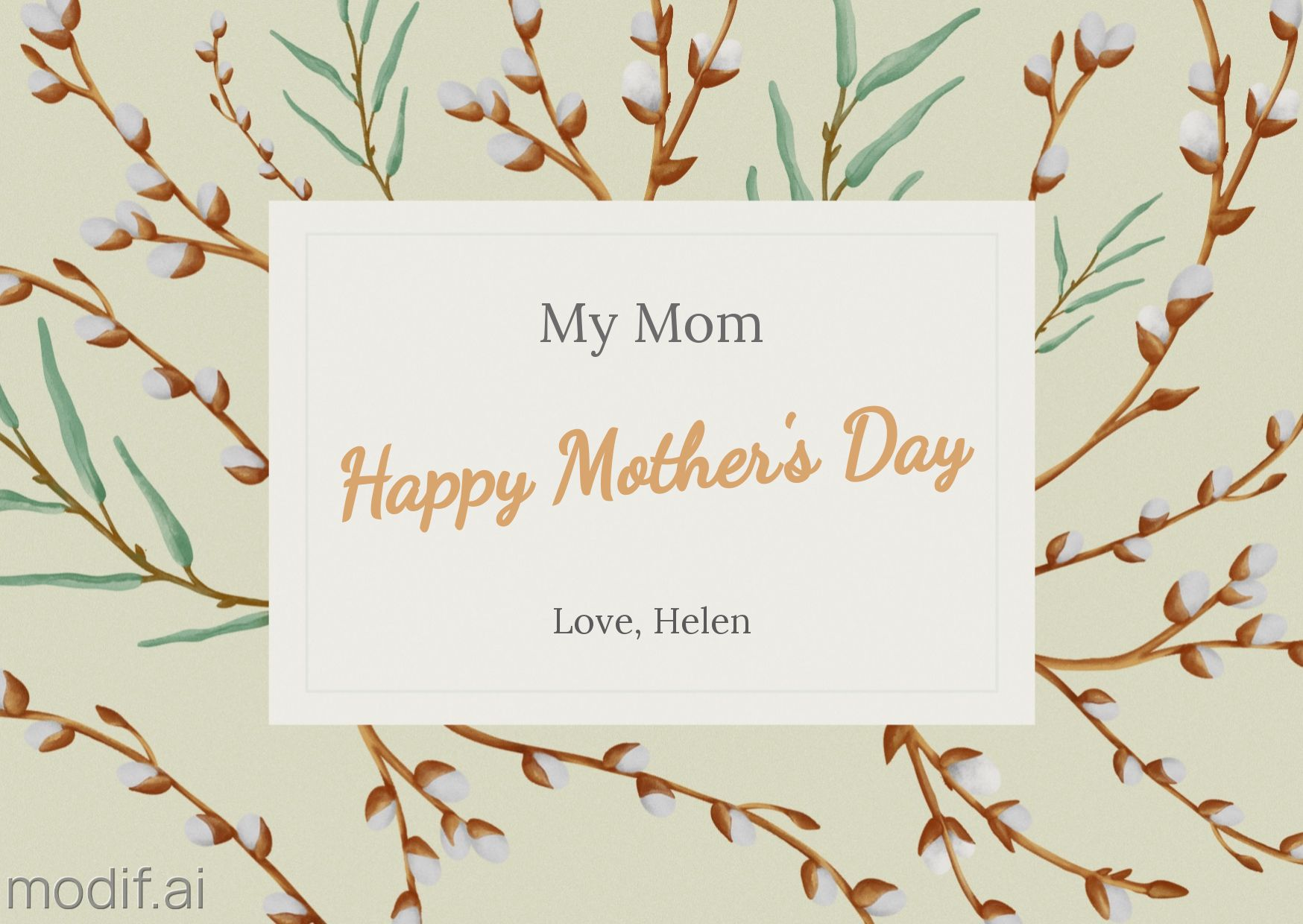 Mothers Day Greeting Card Template