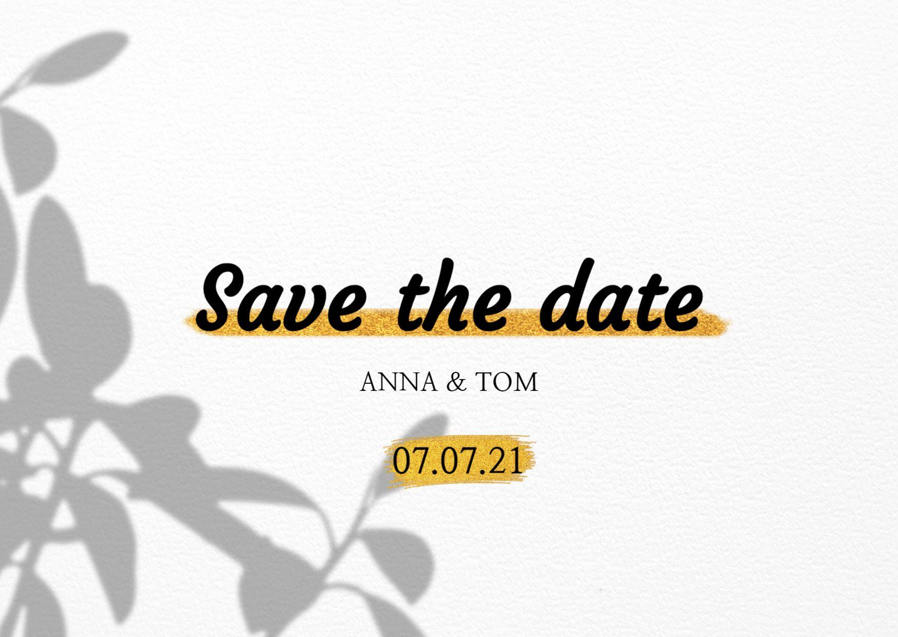 Minimal Golden Wedding Card Template