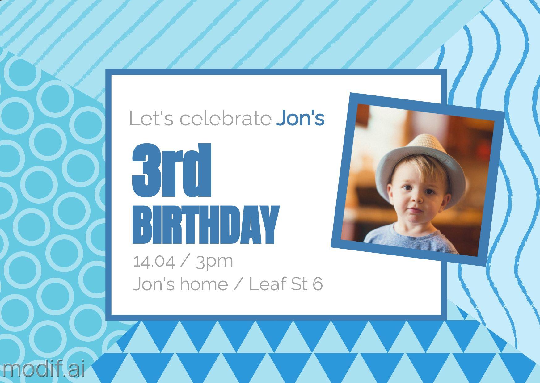 Birthday Invite Greeting Card Template