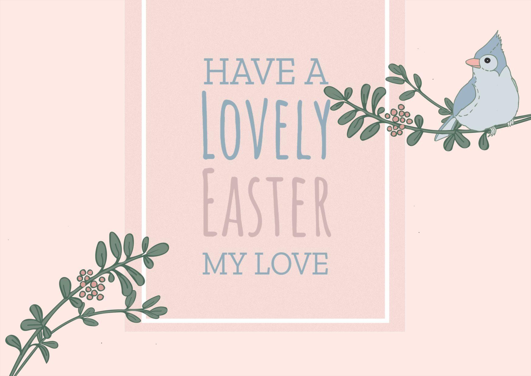 Birdie Easter Greeting Card Template