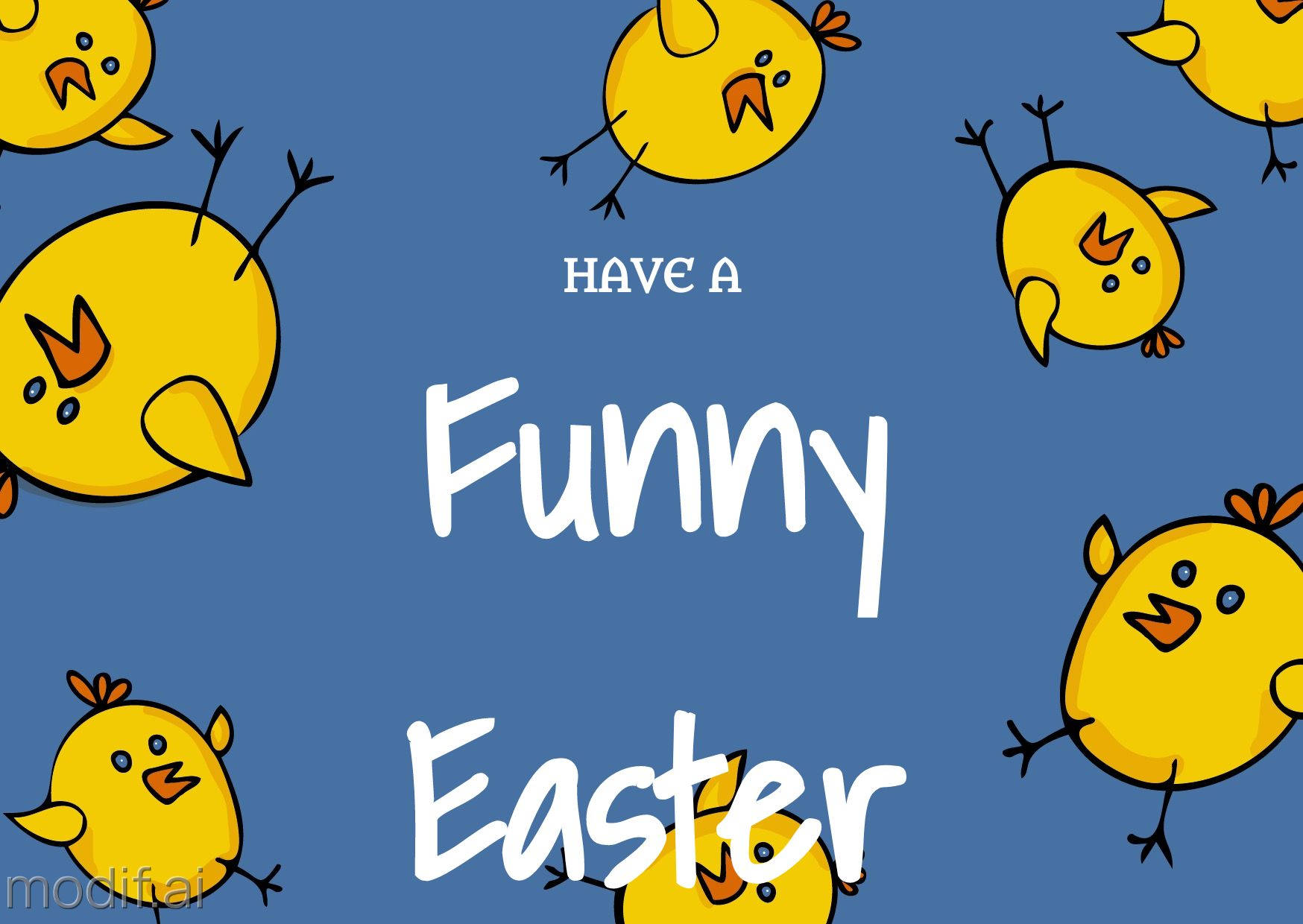 Flying Chicks Easter Greeting Card Template