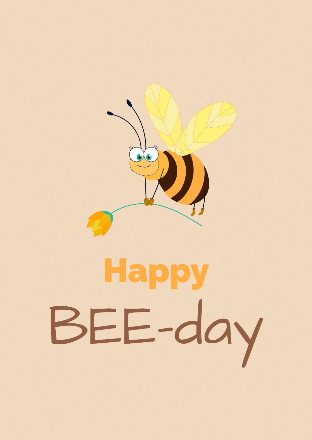 BeeDay Birthday Greeting Card Template