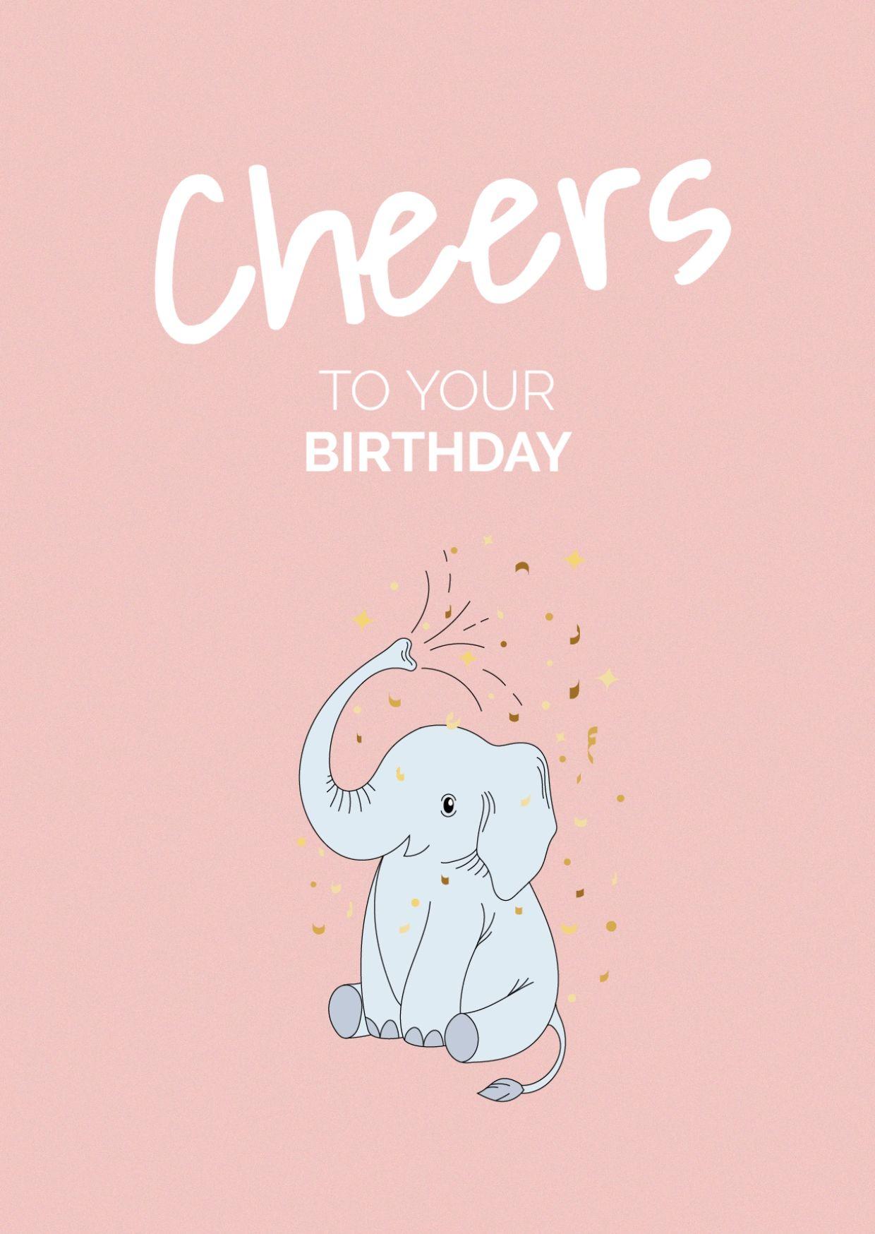 Elephant Birthday Greeting Card Template