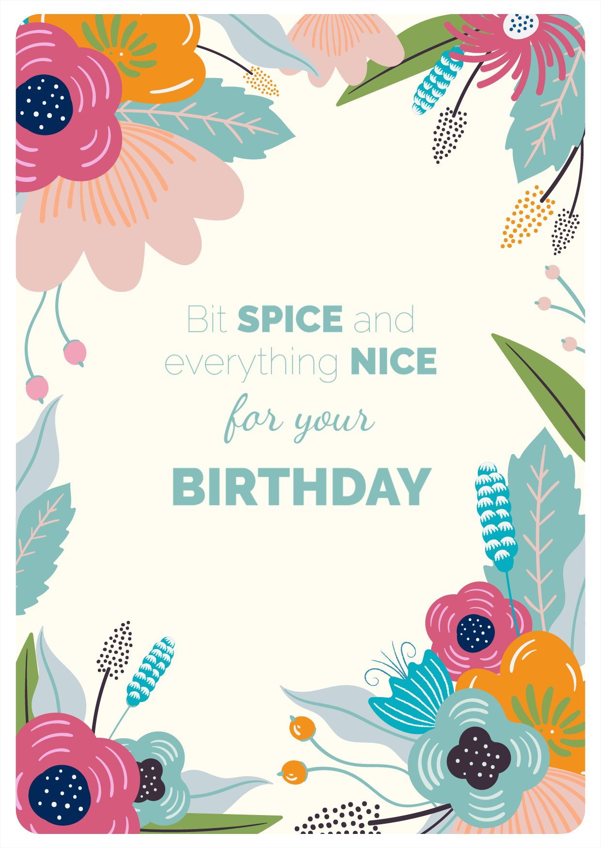 Floral Birthday Greeting Card Template