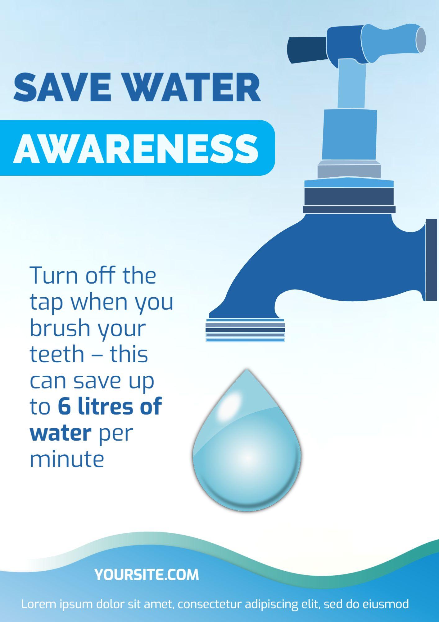 Save Water Awareness Flyer Template