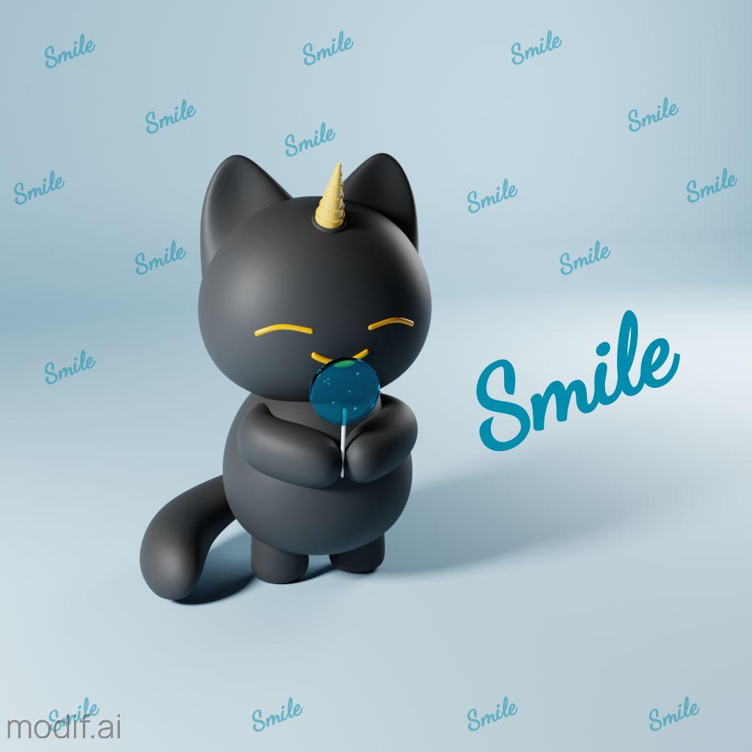 Smiling Kitten with a Lollipop Instagram Post