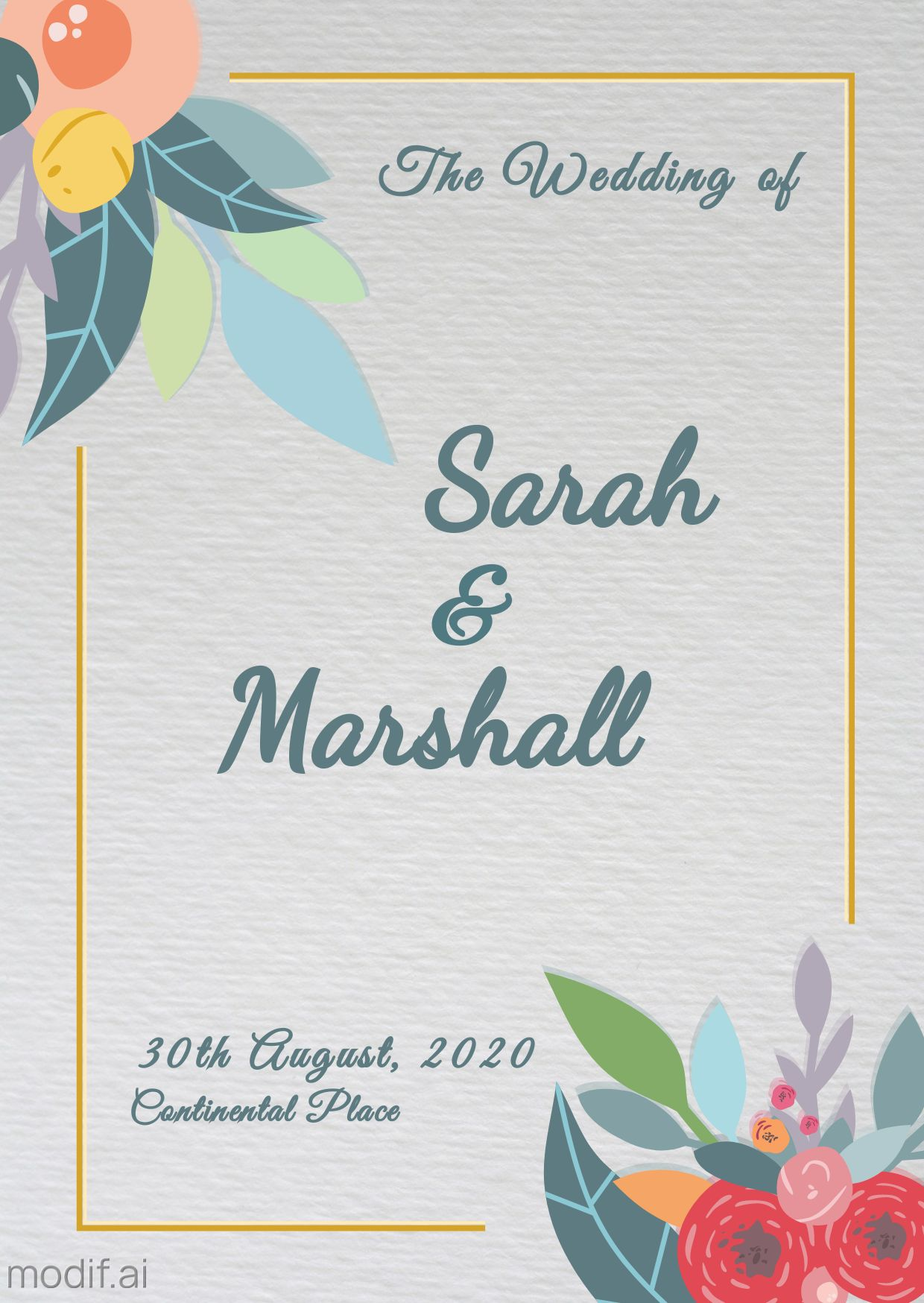 Illustrated Wedding Card Template