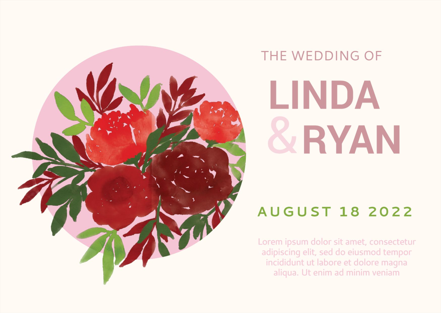 Watercolor Flowers Wedding Card Template