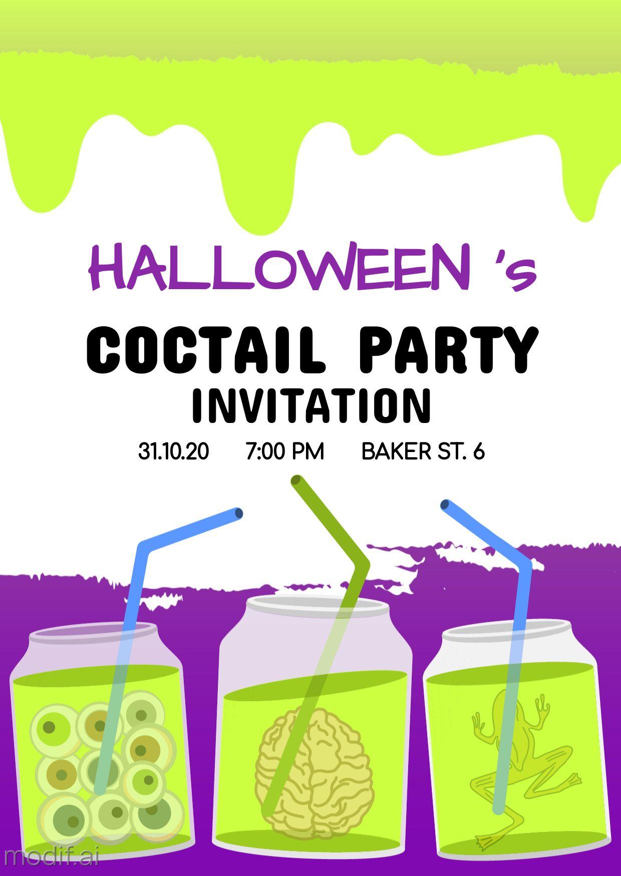 Halloween Invitation Greeting Card Template