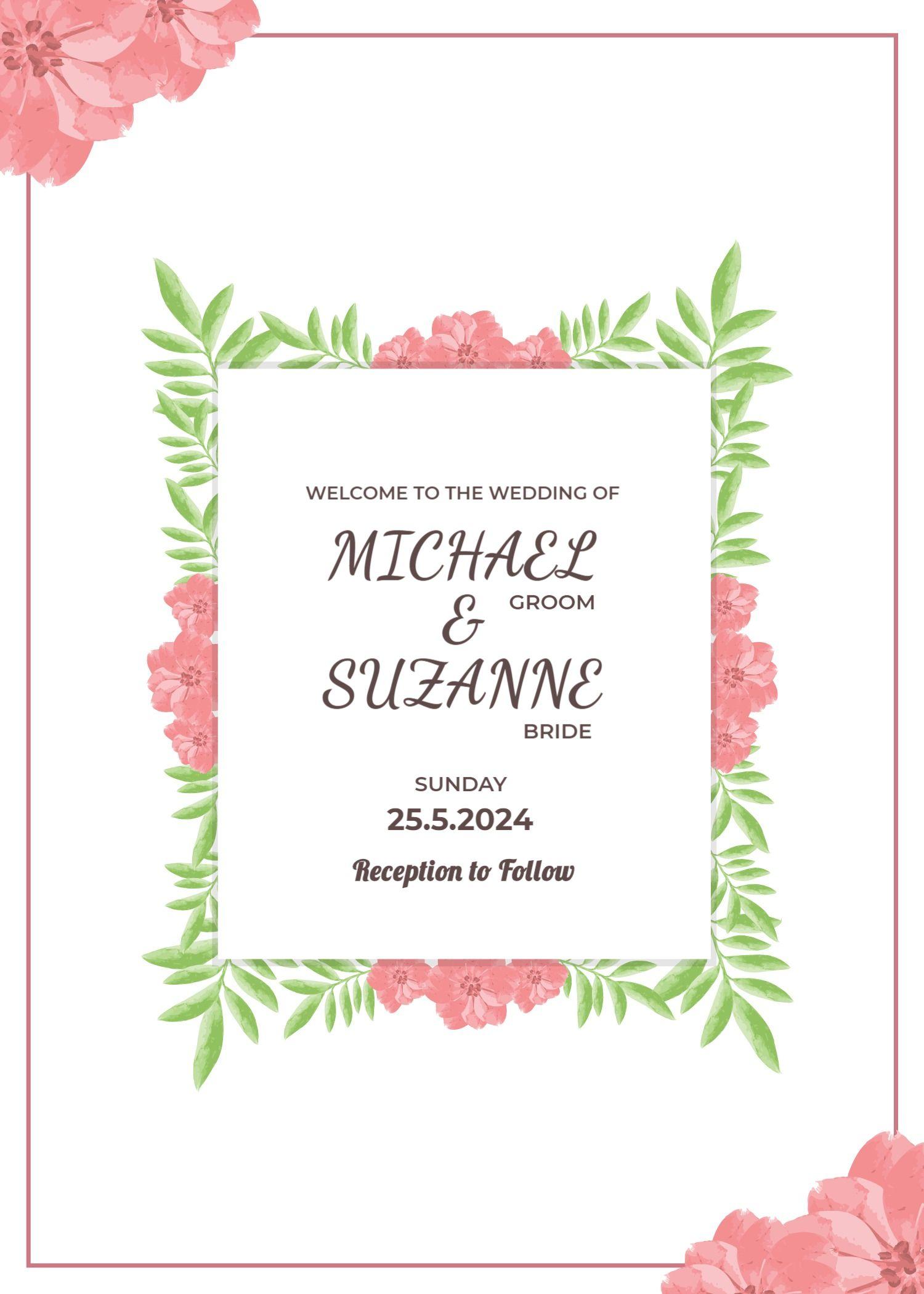 Colorful Wedding Invitation Template - Portrait Frame