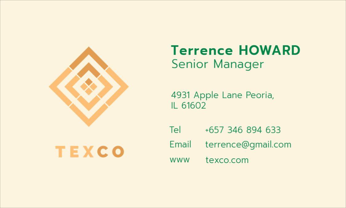 Green Golden Themed Business Card Front Template