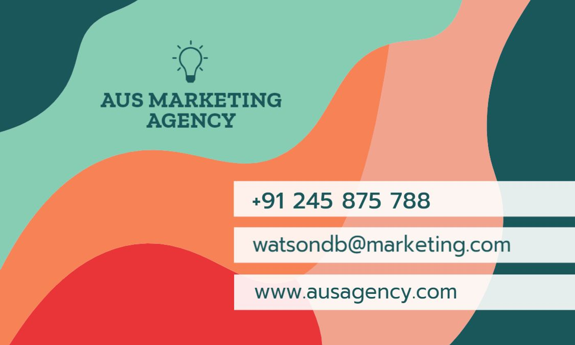 Marketing Themed Business Card Back Template