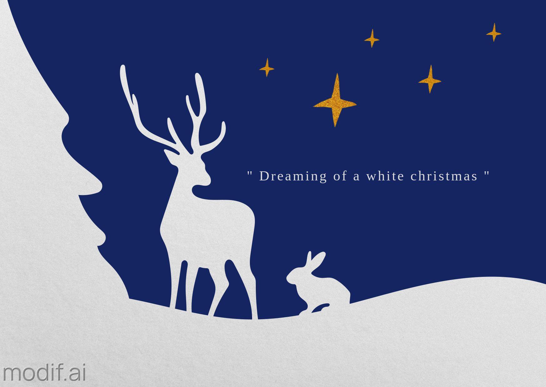 White Christmas Tree Greeting Card Template