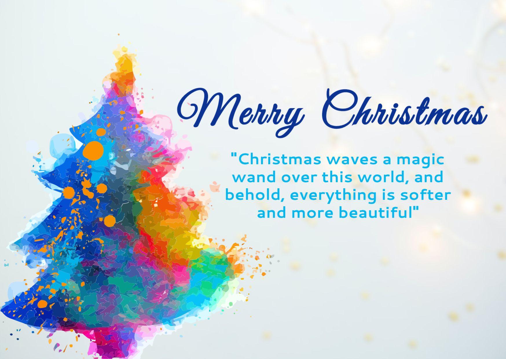 Colorful Christmas Tree Greetings Template