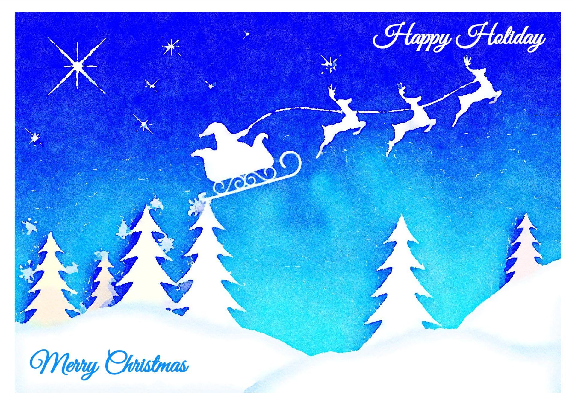 Watercolor Christmas Greetings Card Template