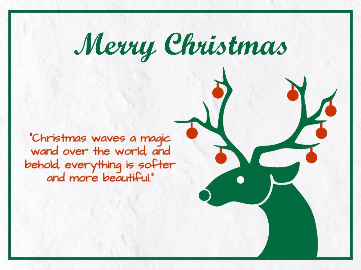 Reindeer Illustration Christmas Greetings Template
