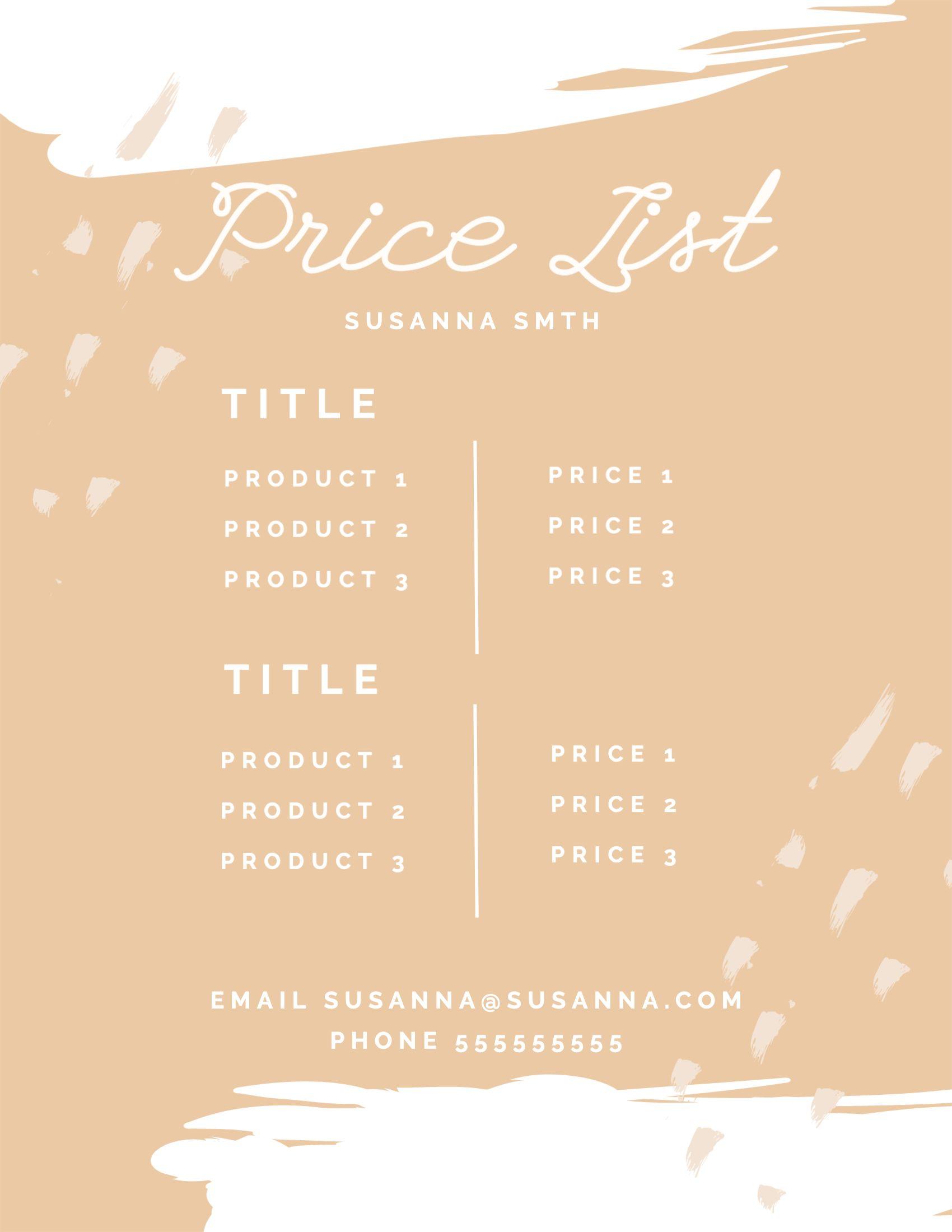 Cosmetics Pricing List Template