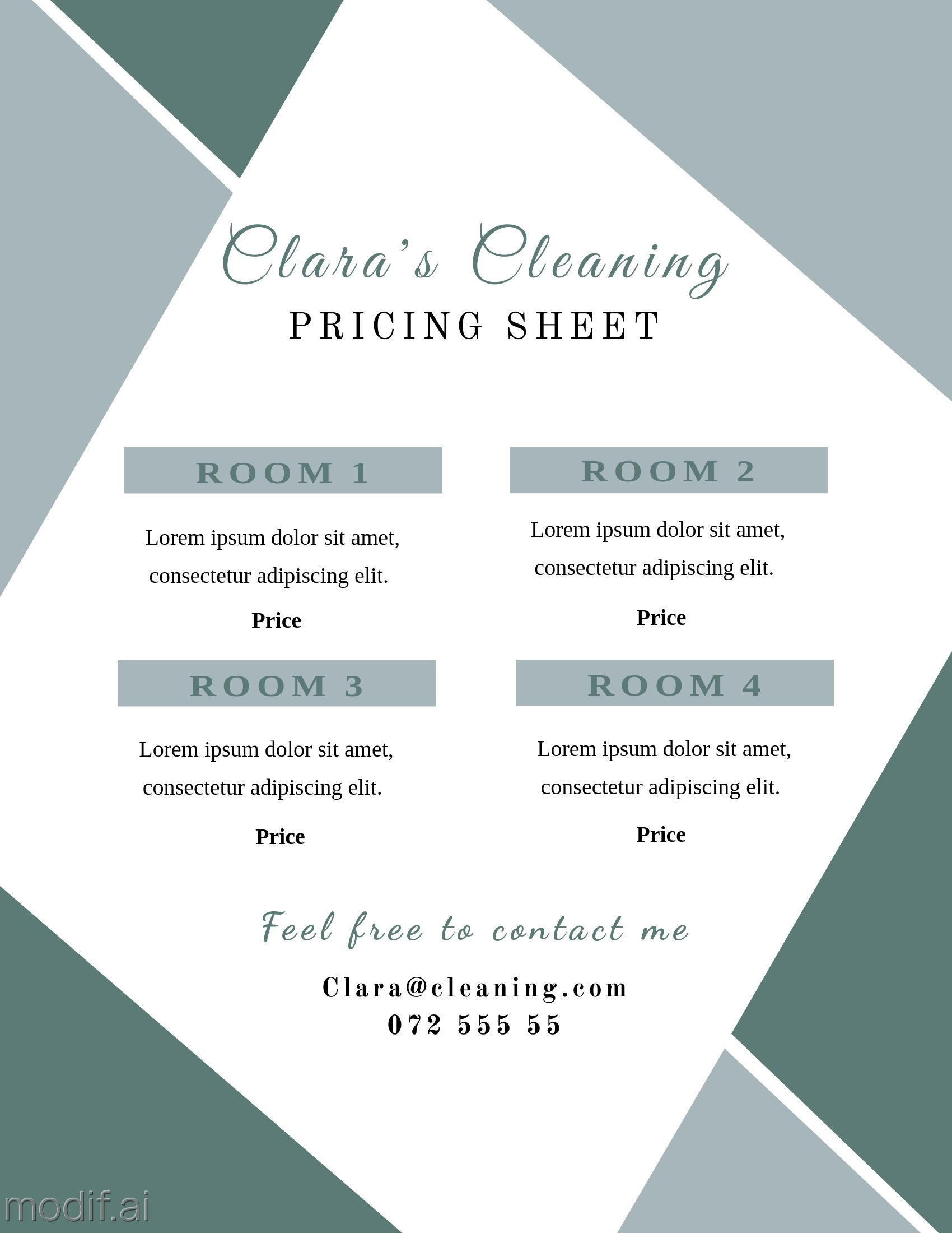 Cleaning Service Pricing Sheet Template
