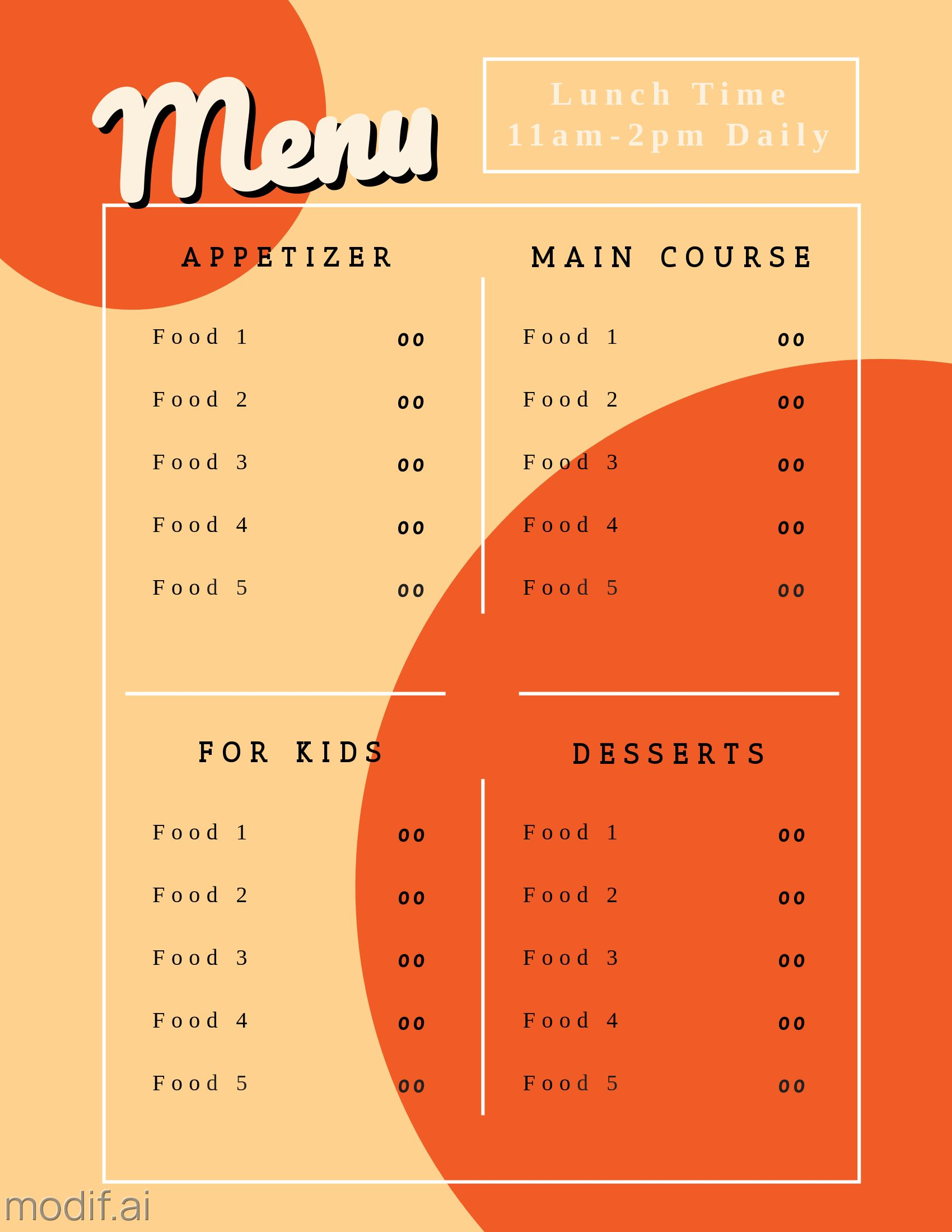 Cafe and Food Pricing Print Template