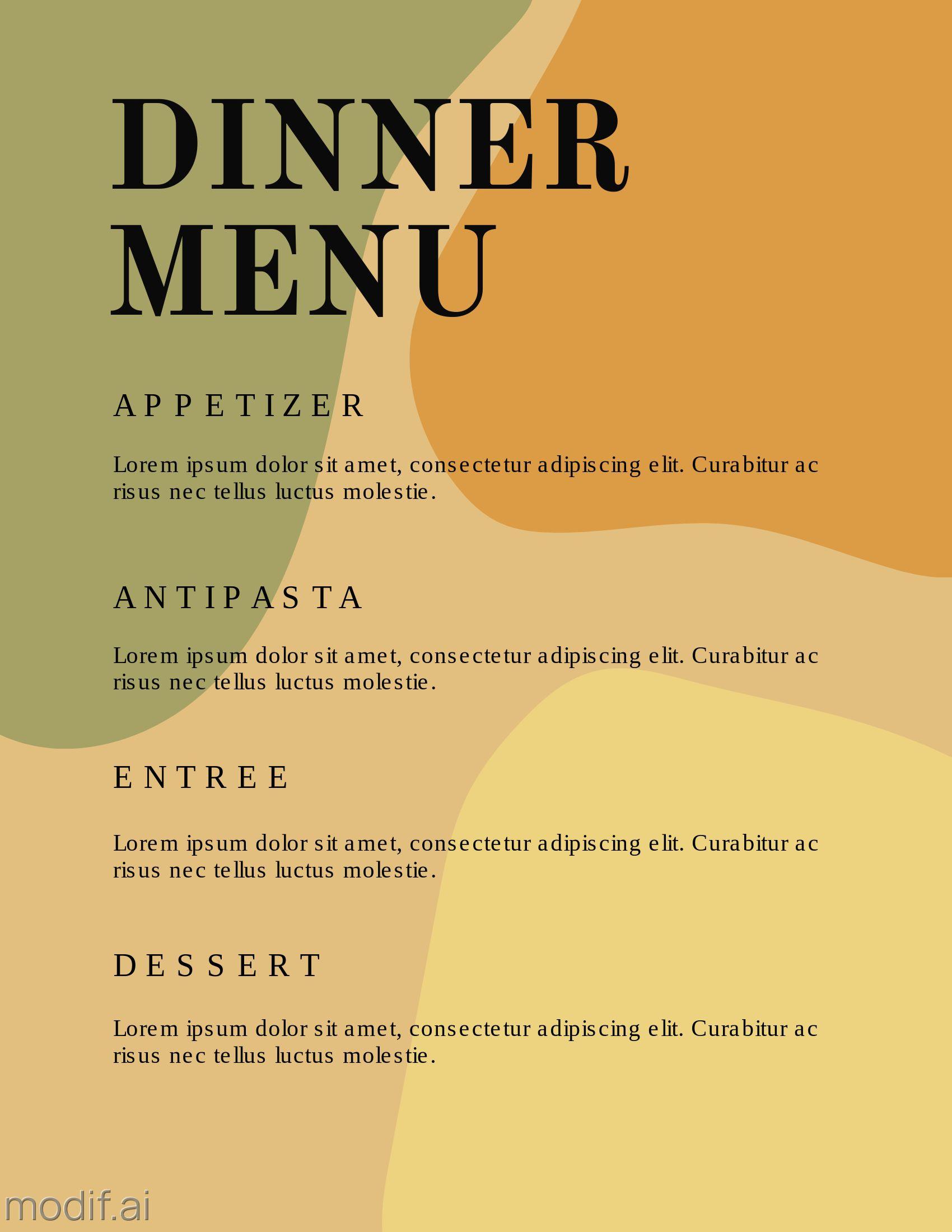 Restaurant Dinner Menu Pricing Guide Template