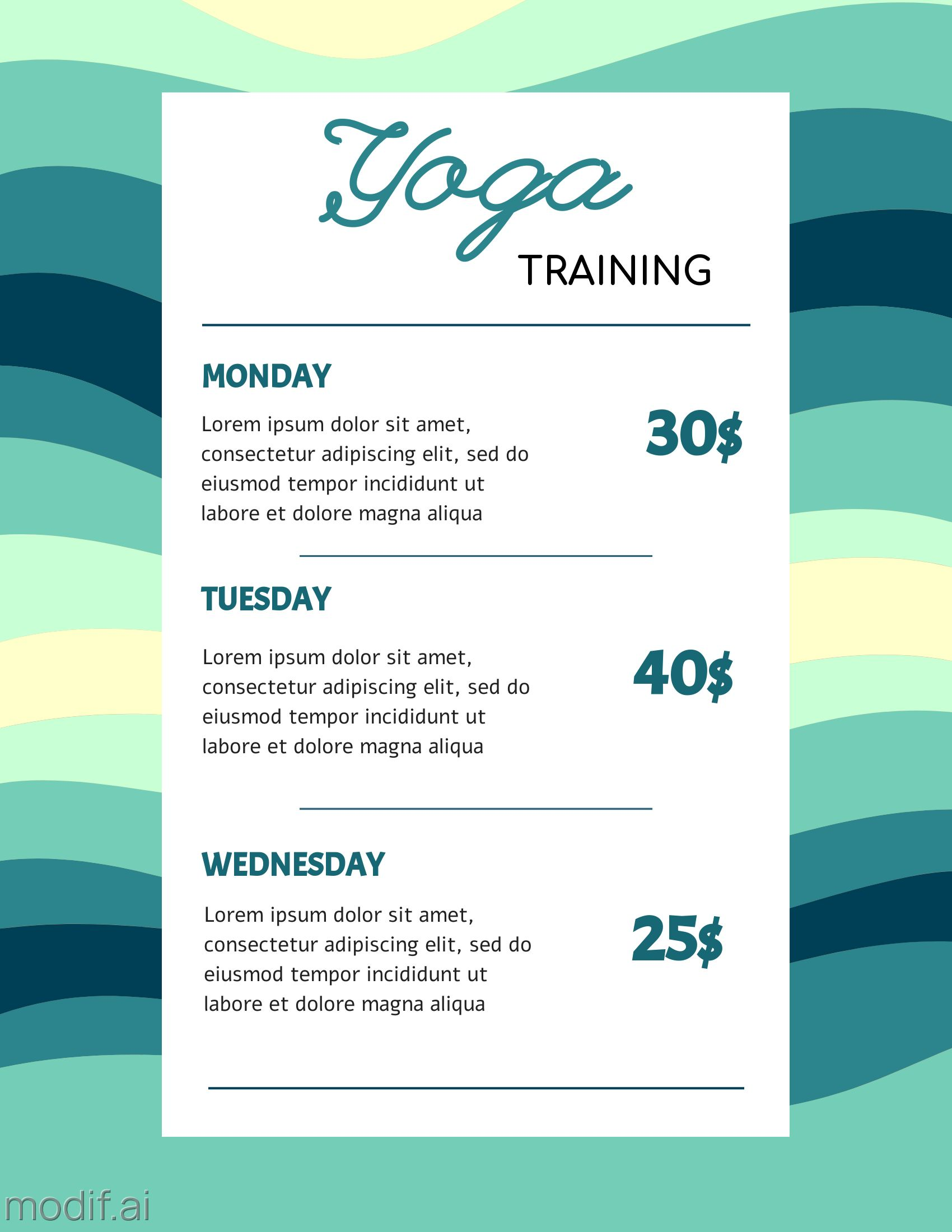 Yoga Classes Pricing list Template