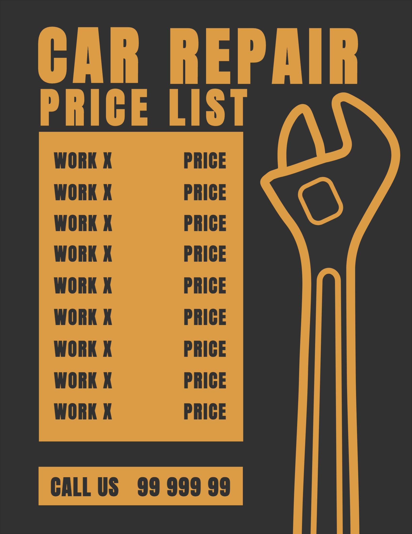 Car Repair Pricing List Template