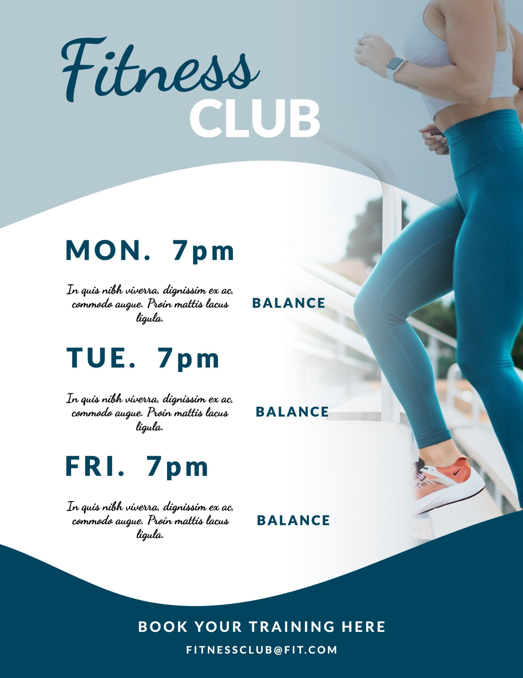 Fitness Club Pricing List Template