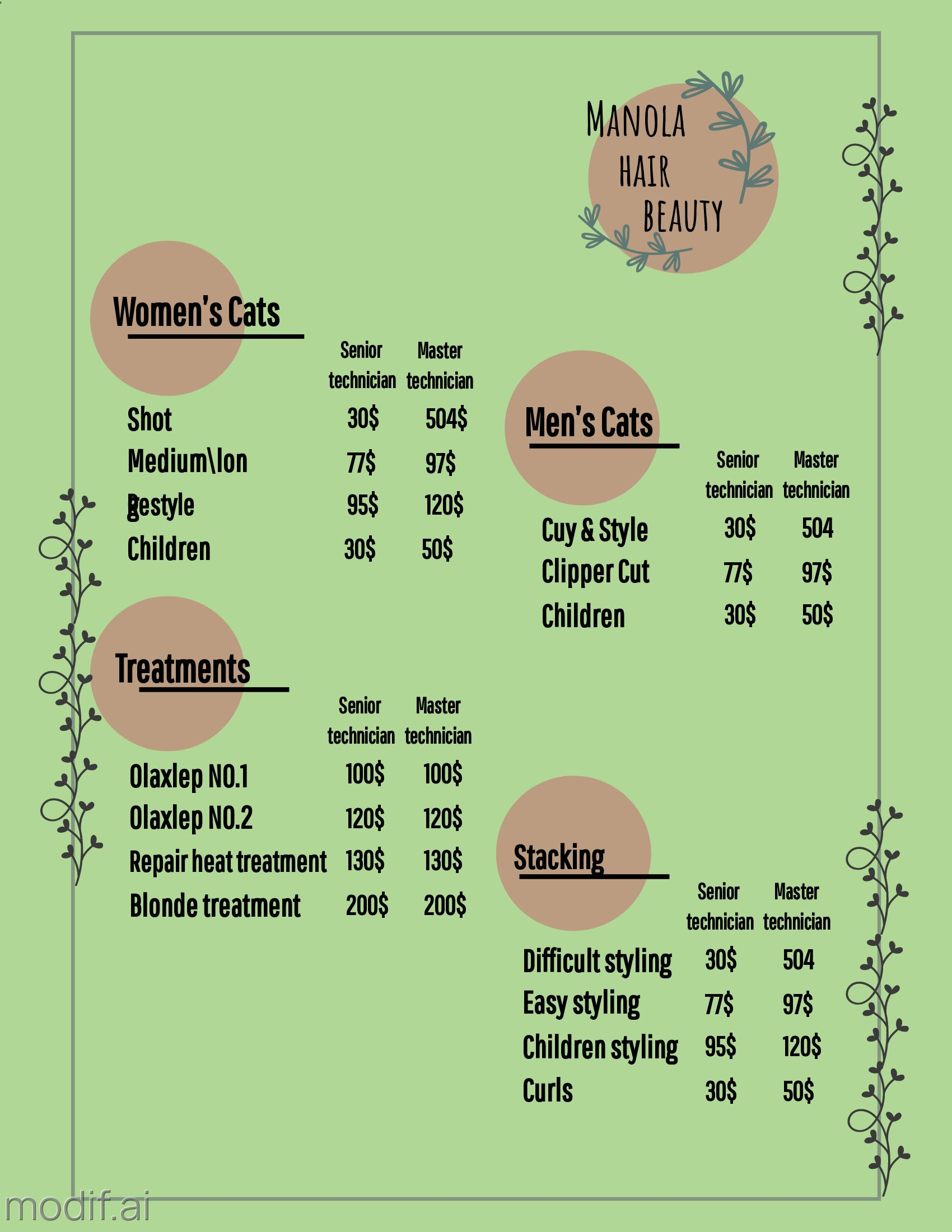 Hair Beauty Pricing Template