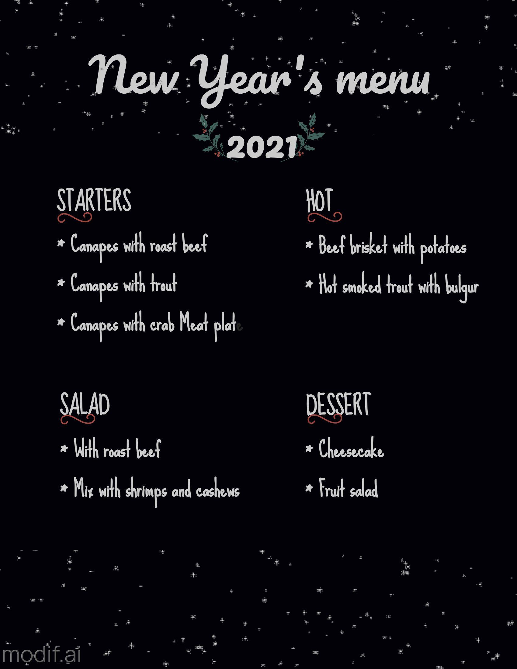 New Year Menu Pricing Template