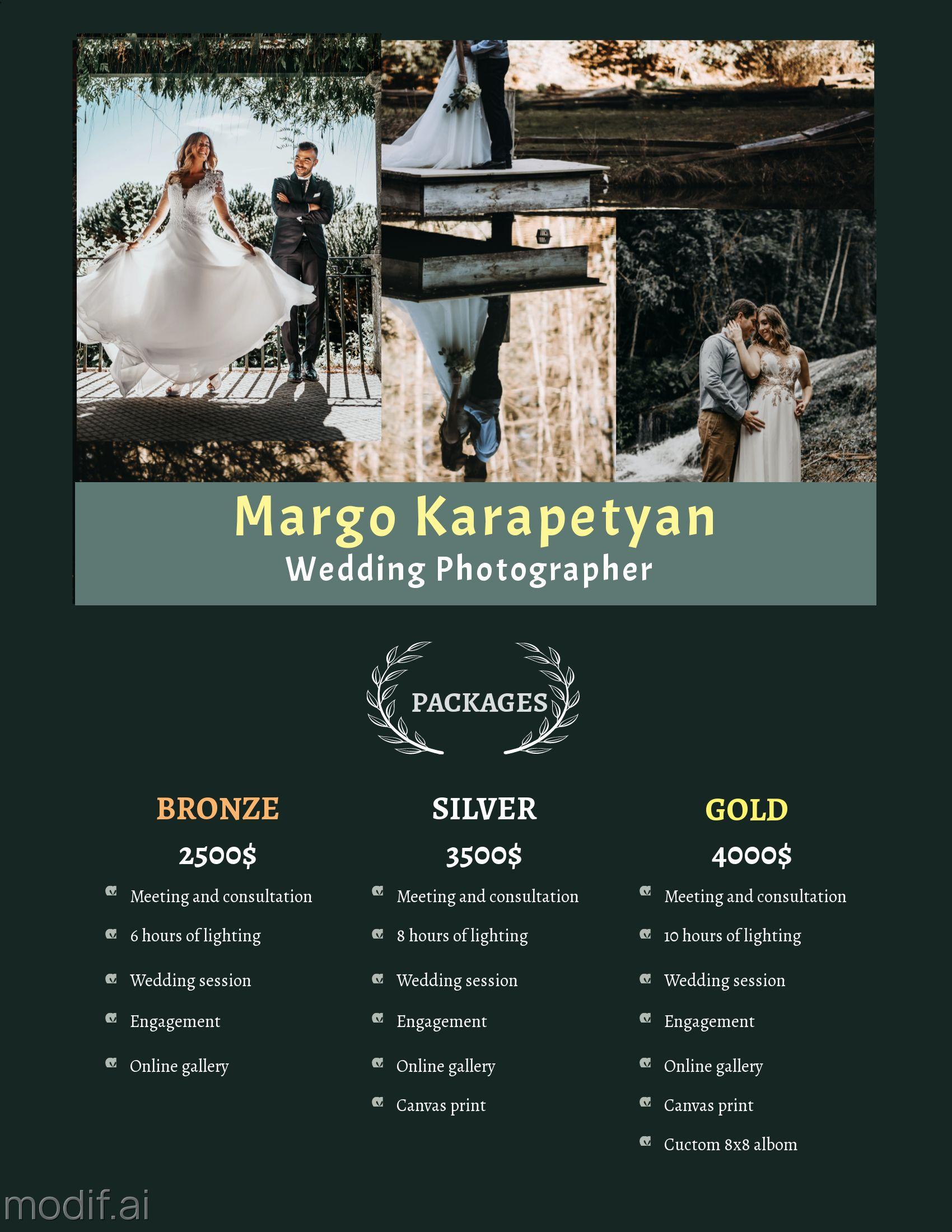 Wedding Photographer Pricing Template