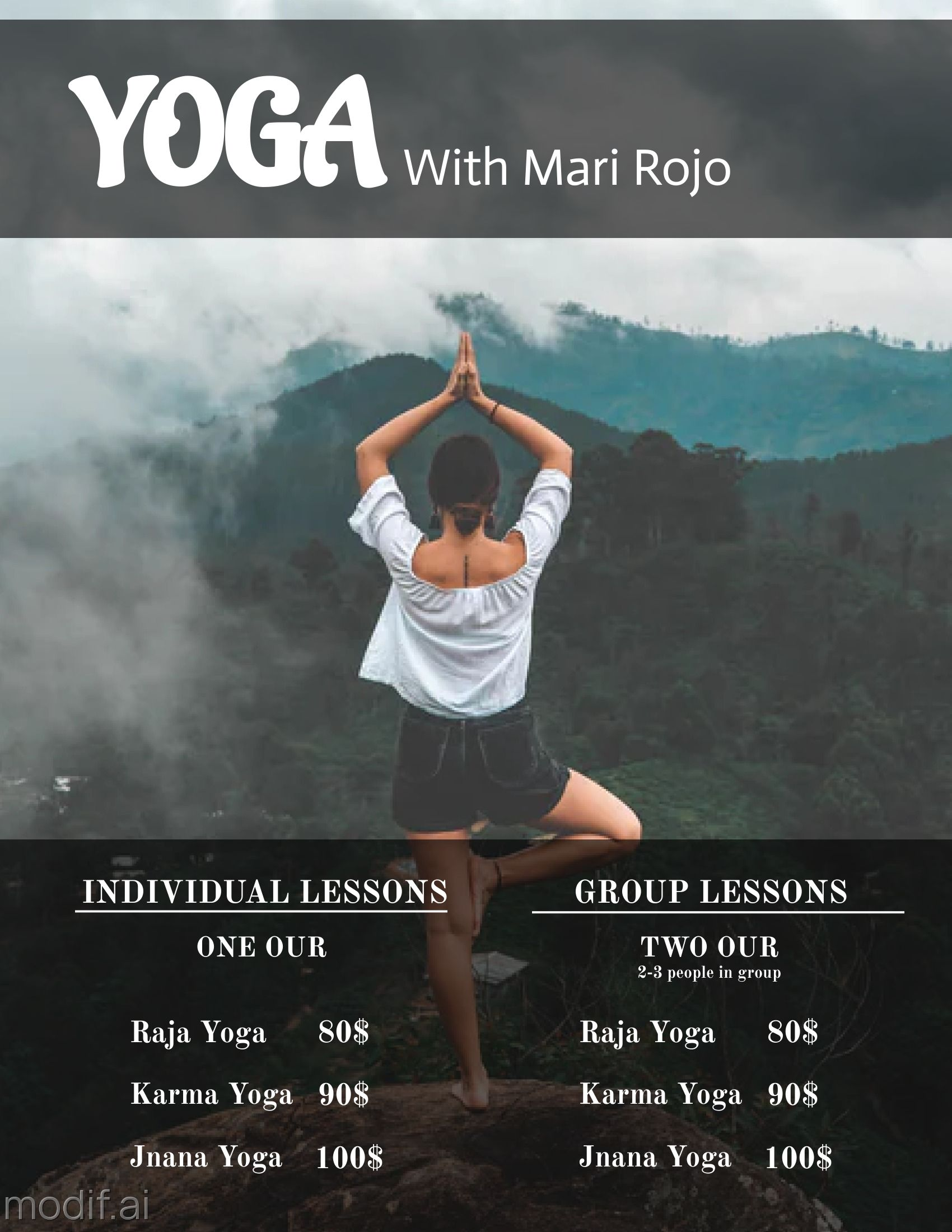 Yoga Trainer Pricing Template