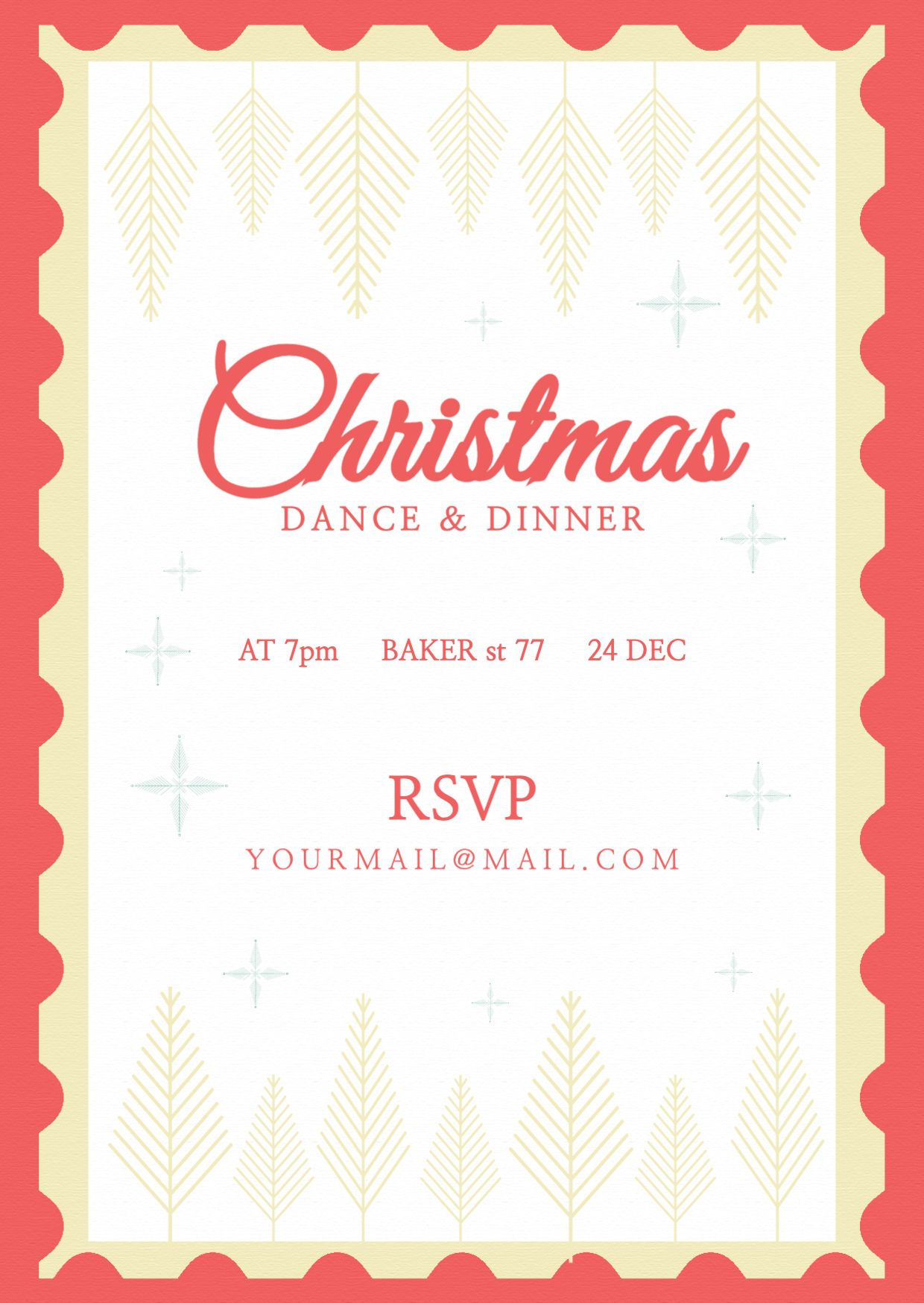 Christmas Dance and Dinner Invitation Template