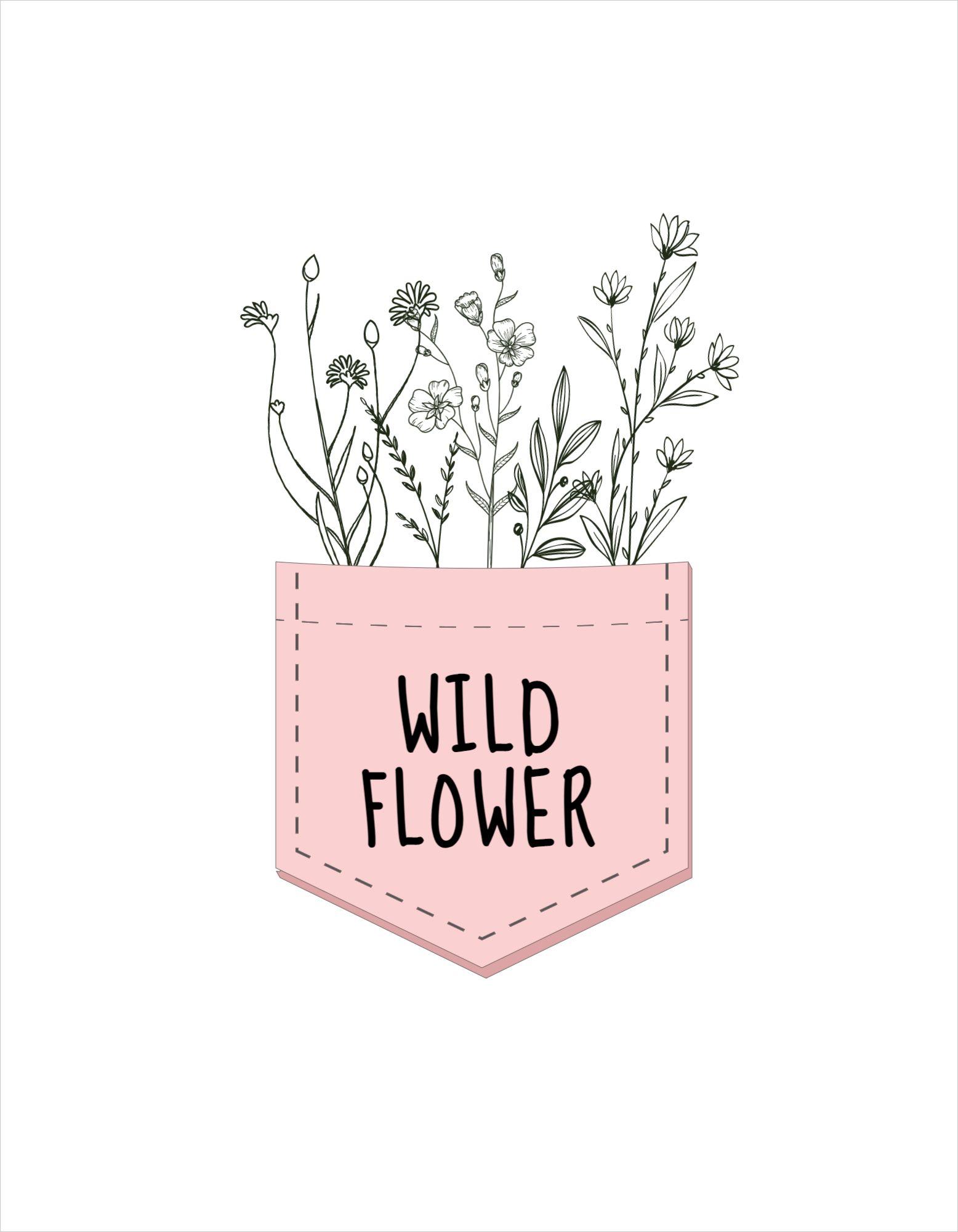Wild Flower T-Shirt Design Template