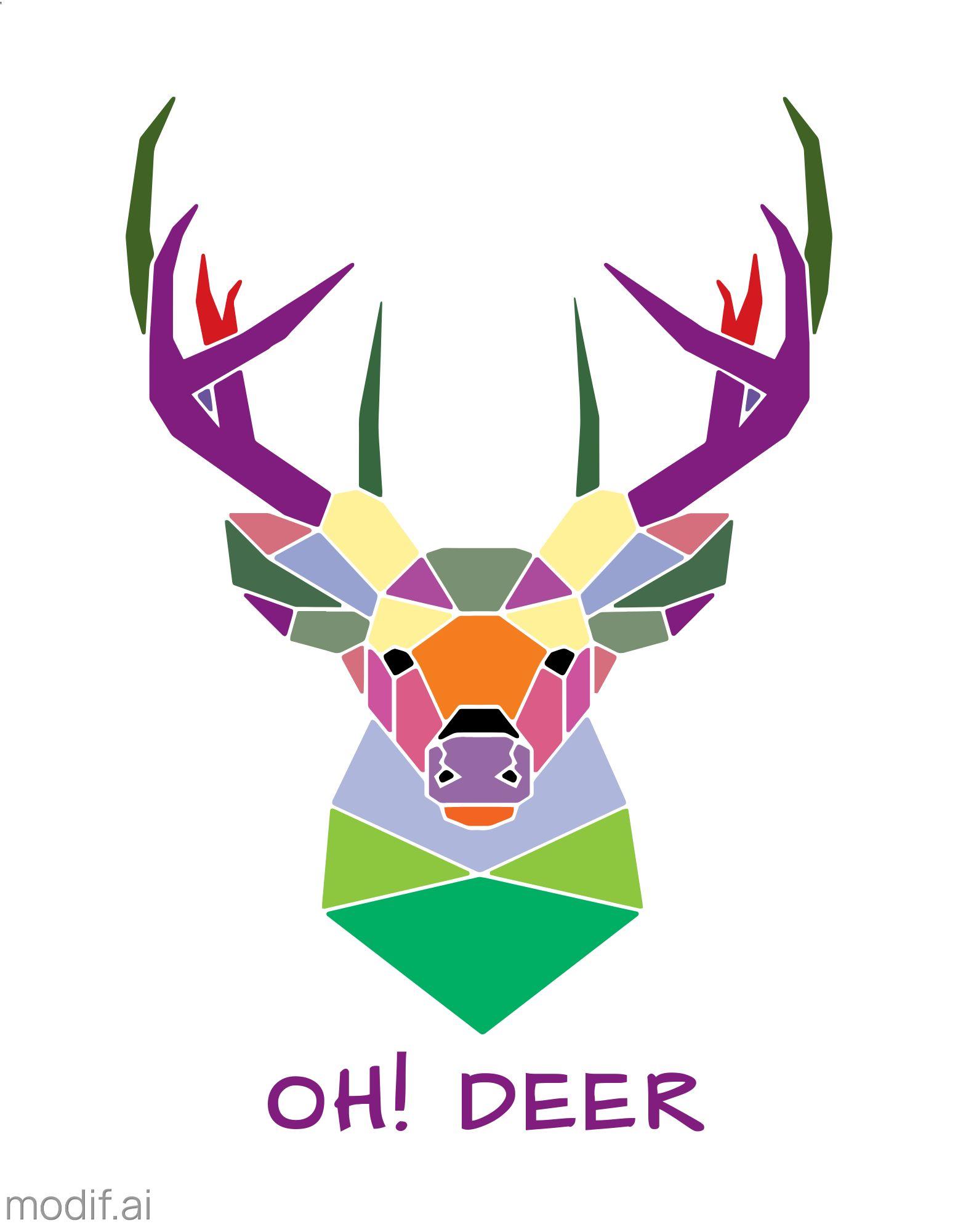 Geometric Deer T-Shirt Design Template