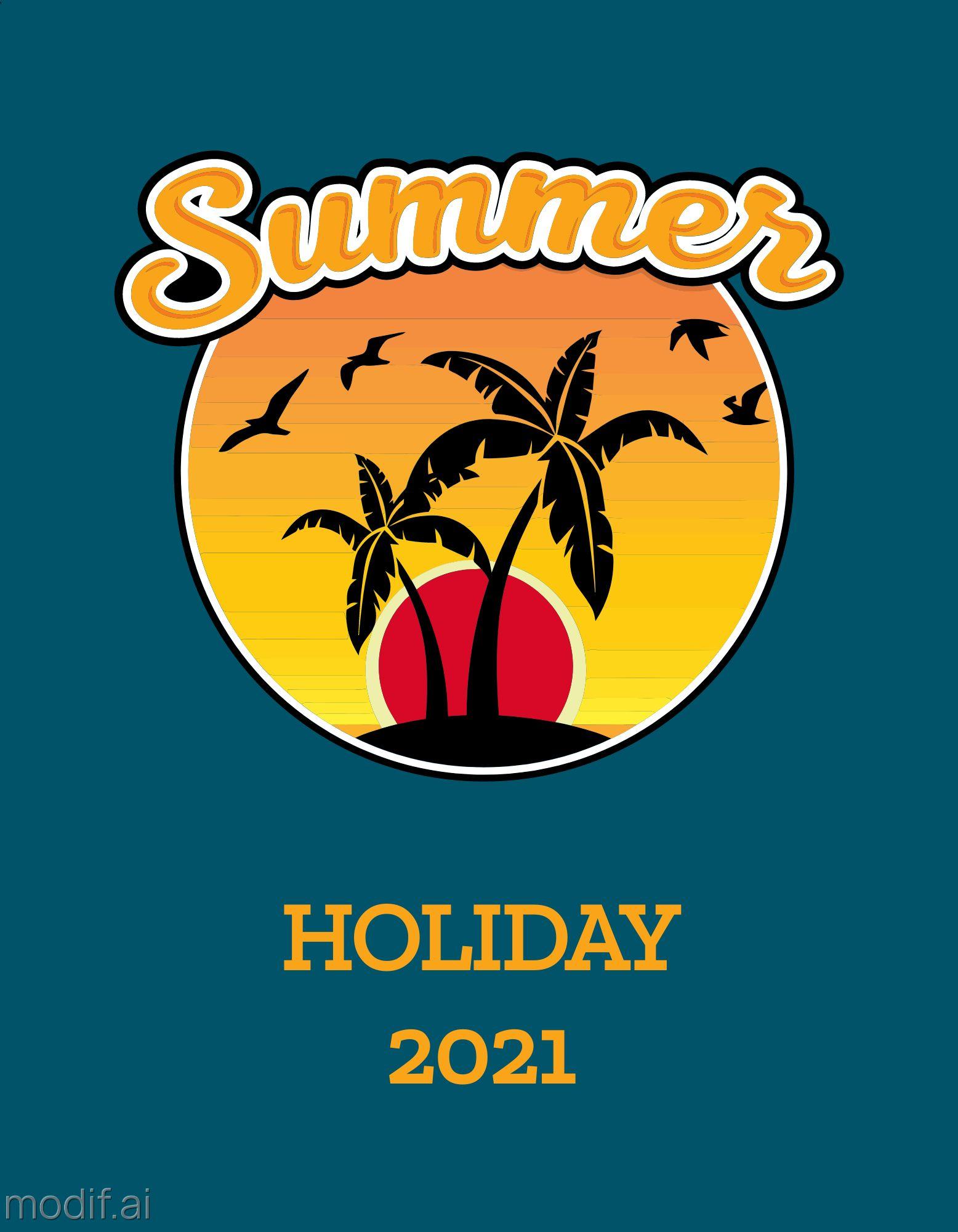 Summer Holiday T-Shirt Design Template