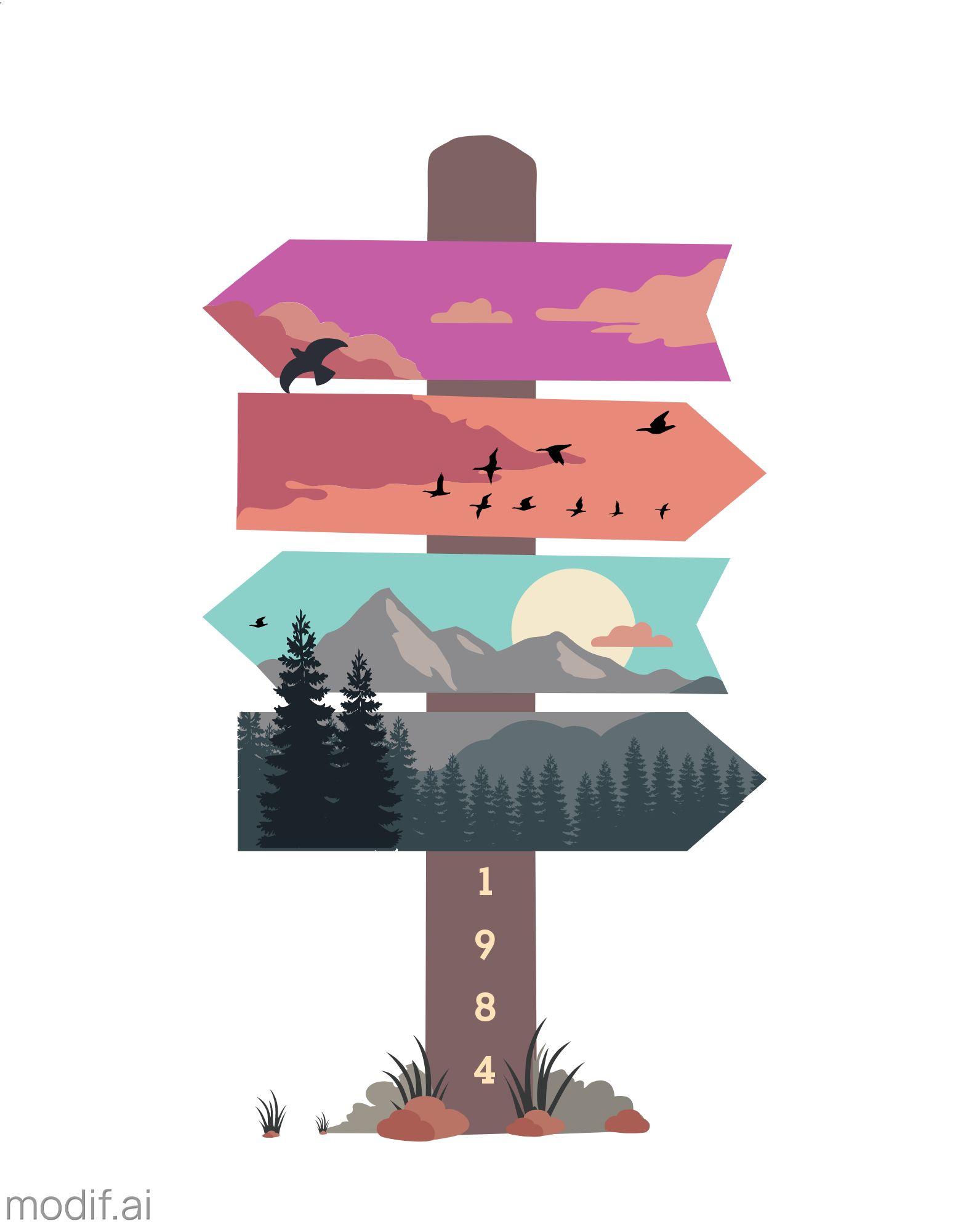 Nature Scene T-Shirt Design Template