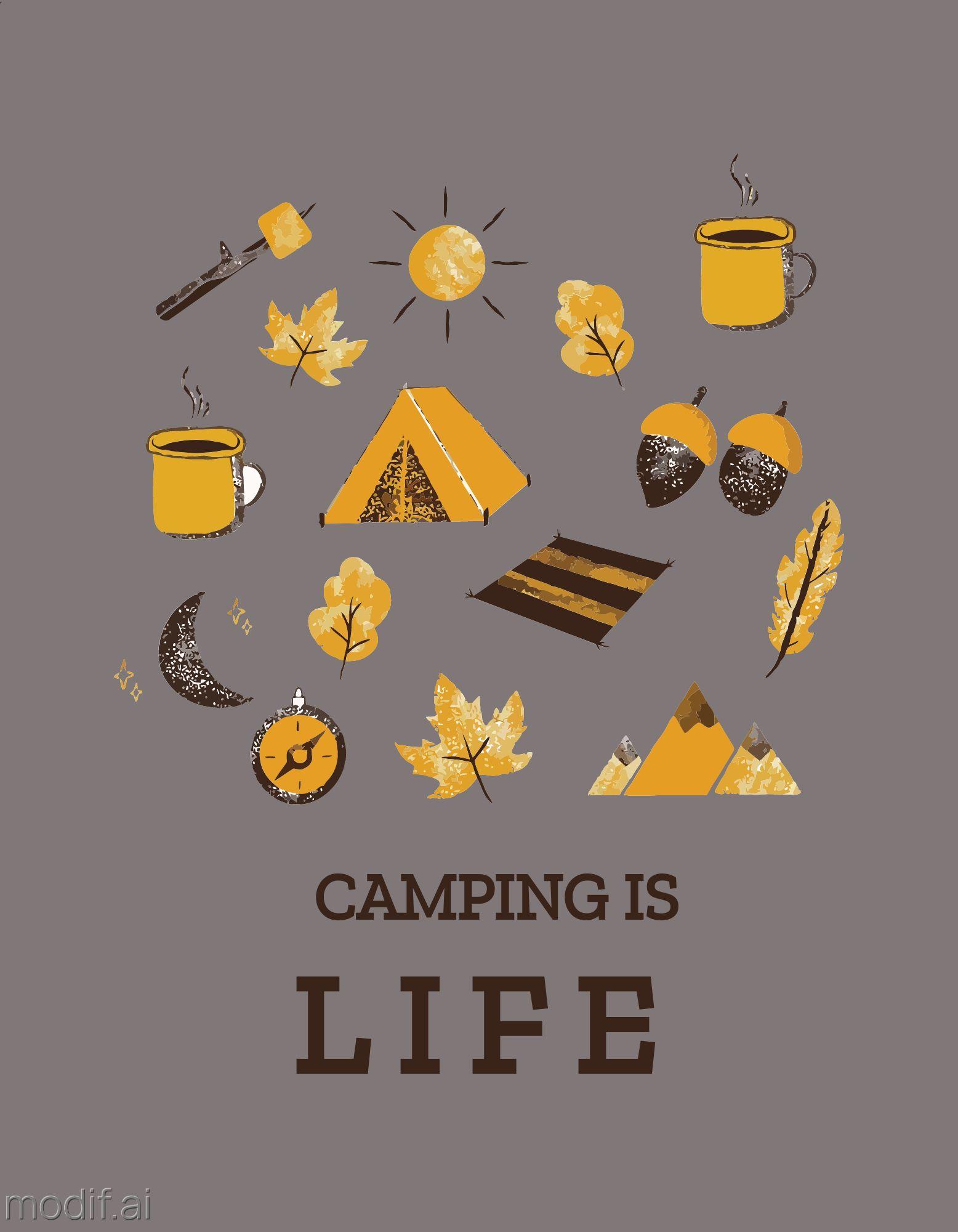 Camping T-Shirt Design Template