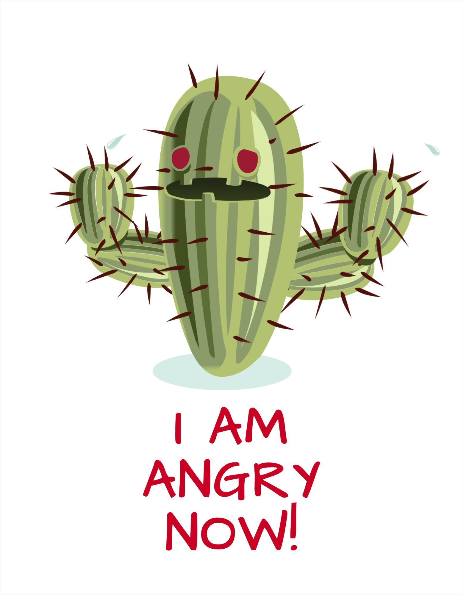 Angry Cactus T-Shirt Design Template