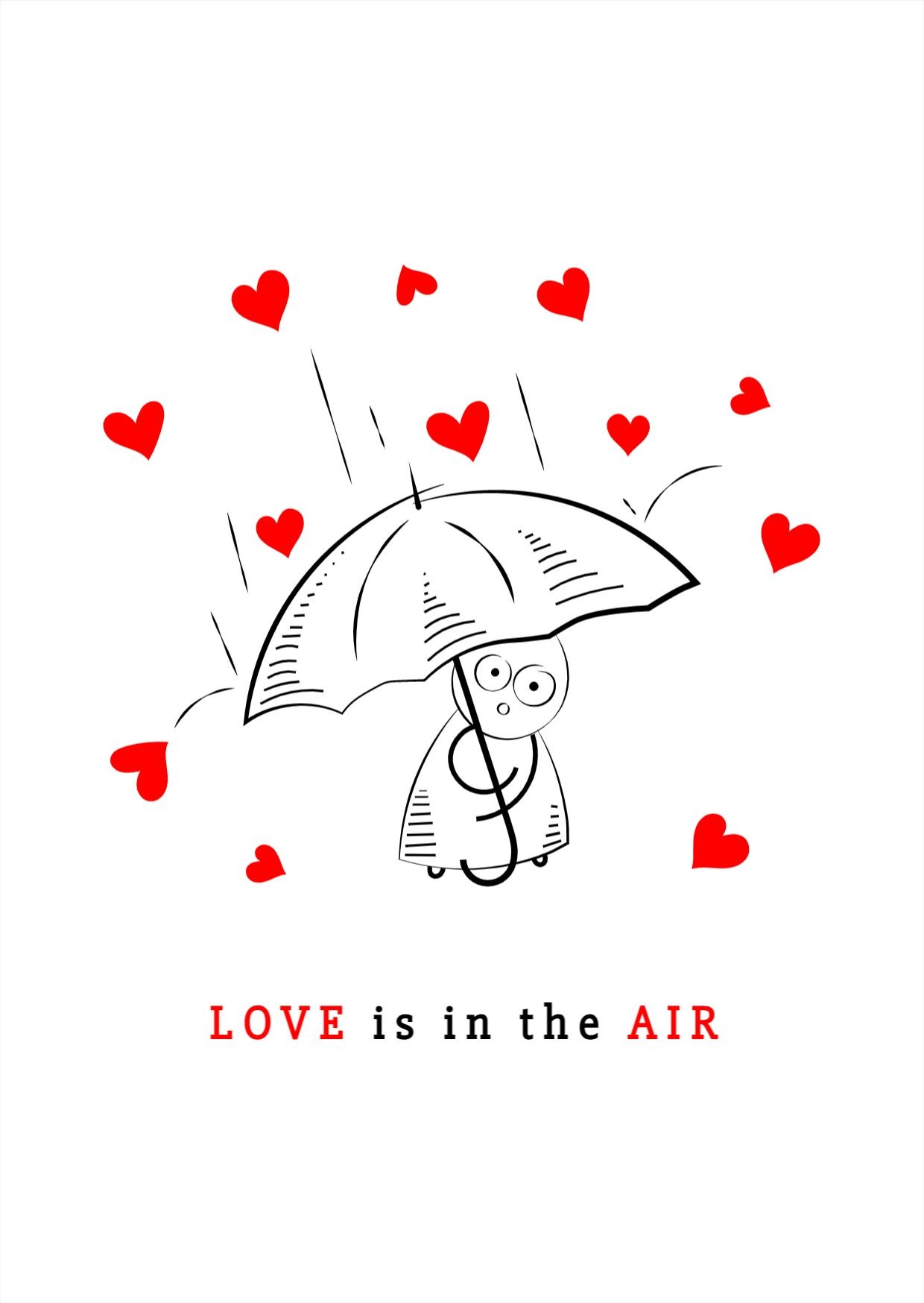 Valentines Love Rain Greeting Card Design Template