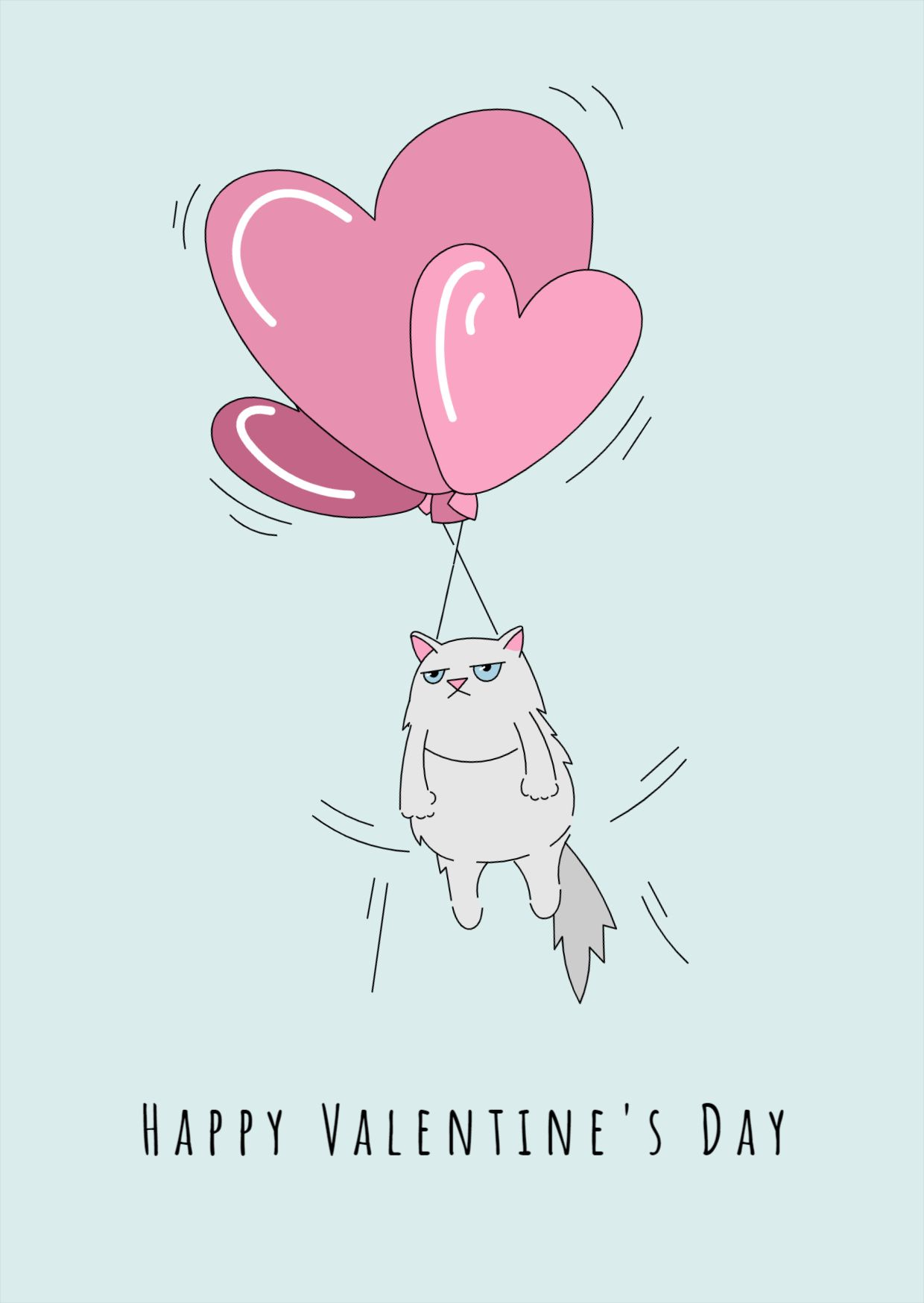 Valentine Cat and Balloons Greeting Card Design